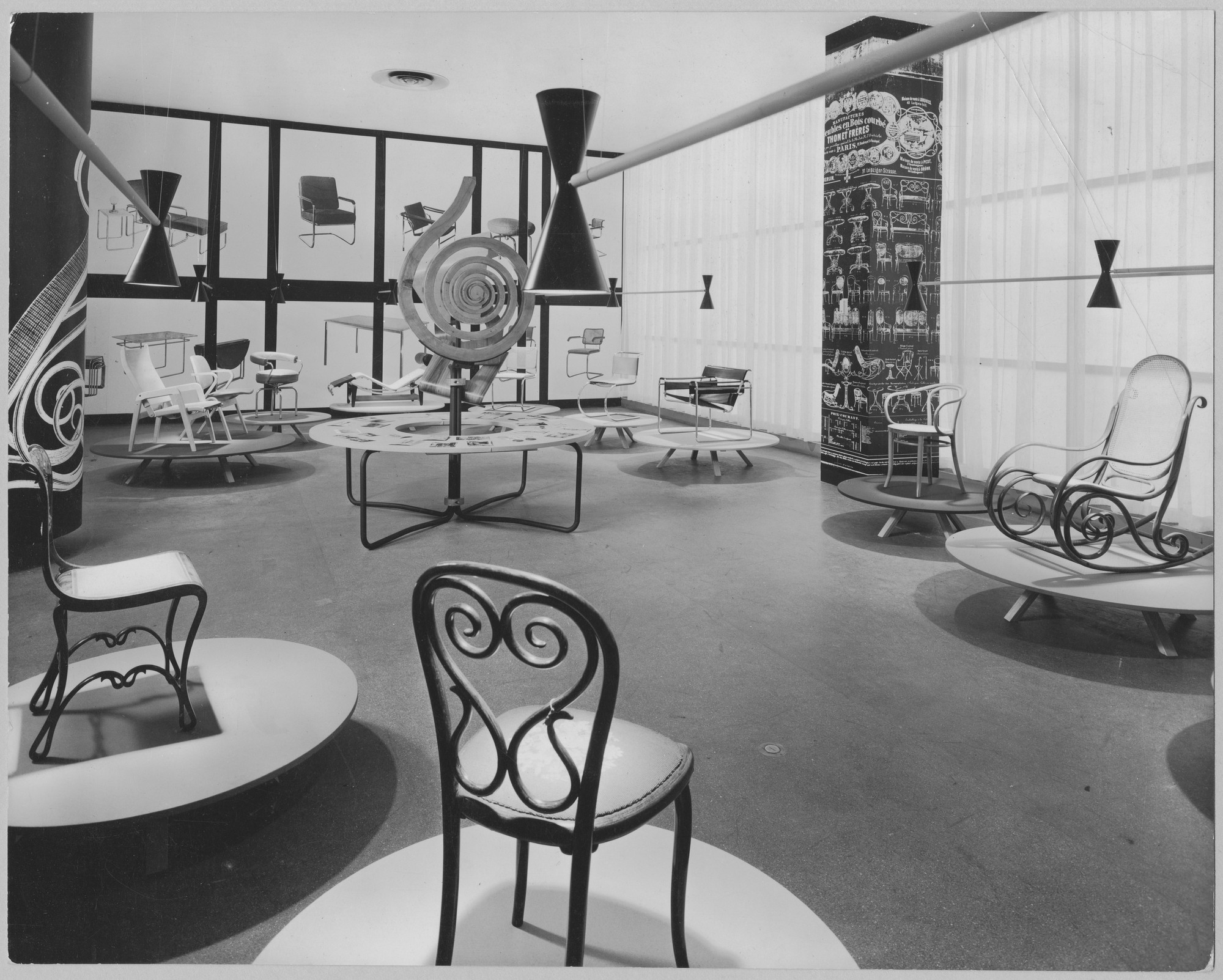 "Installation view of the exhibition, ""Thonet Furniture."" August 11, 1953–October 4, 1953. Photographic Archive. The Museum of Modern Art Archives, New York. IN539.2. Photograph by Alexandre Georges."