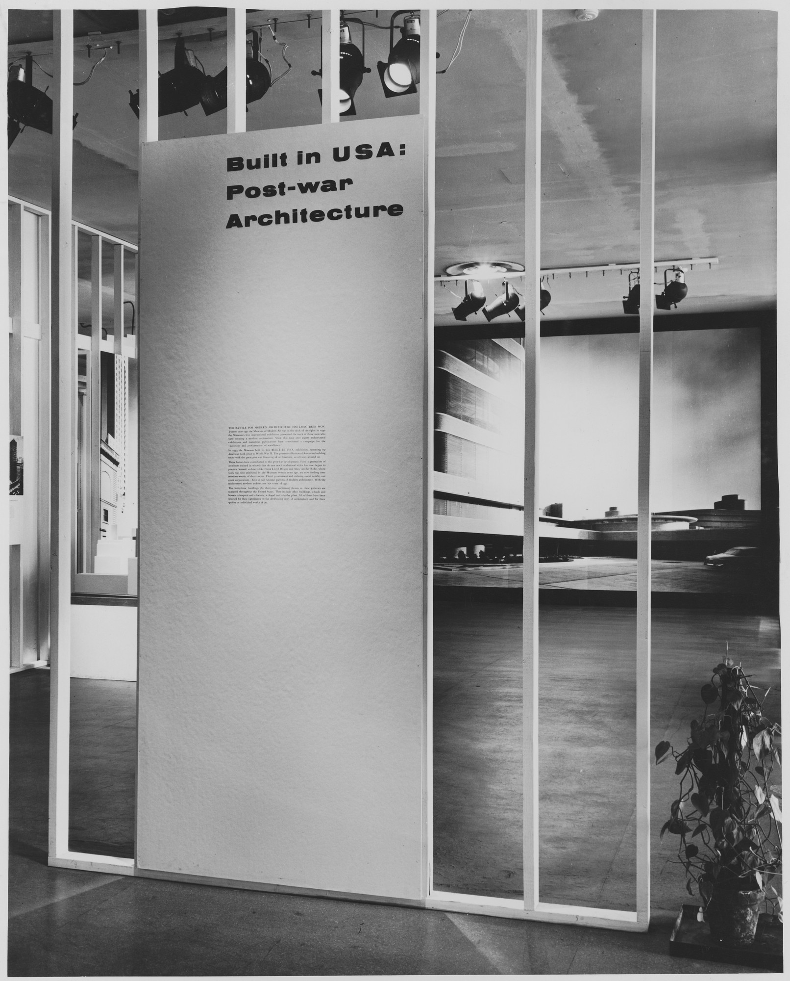 "Installation view of the exhibition, ""Built in U.S.A.:  Post-War Architecture"" January 20, 1953–March 15, 1953. Photographic Archive. The Museum of Modern Art Archives, New York. IN528.1. Photograph by David E. Scherman."