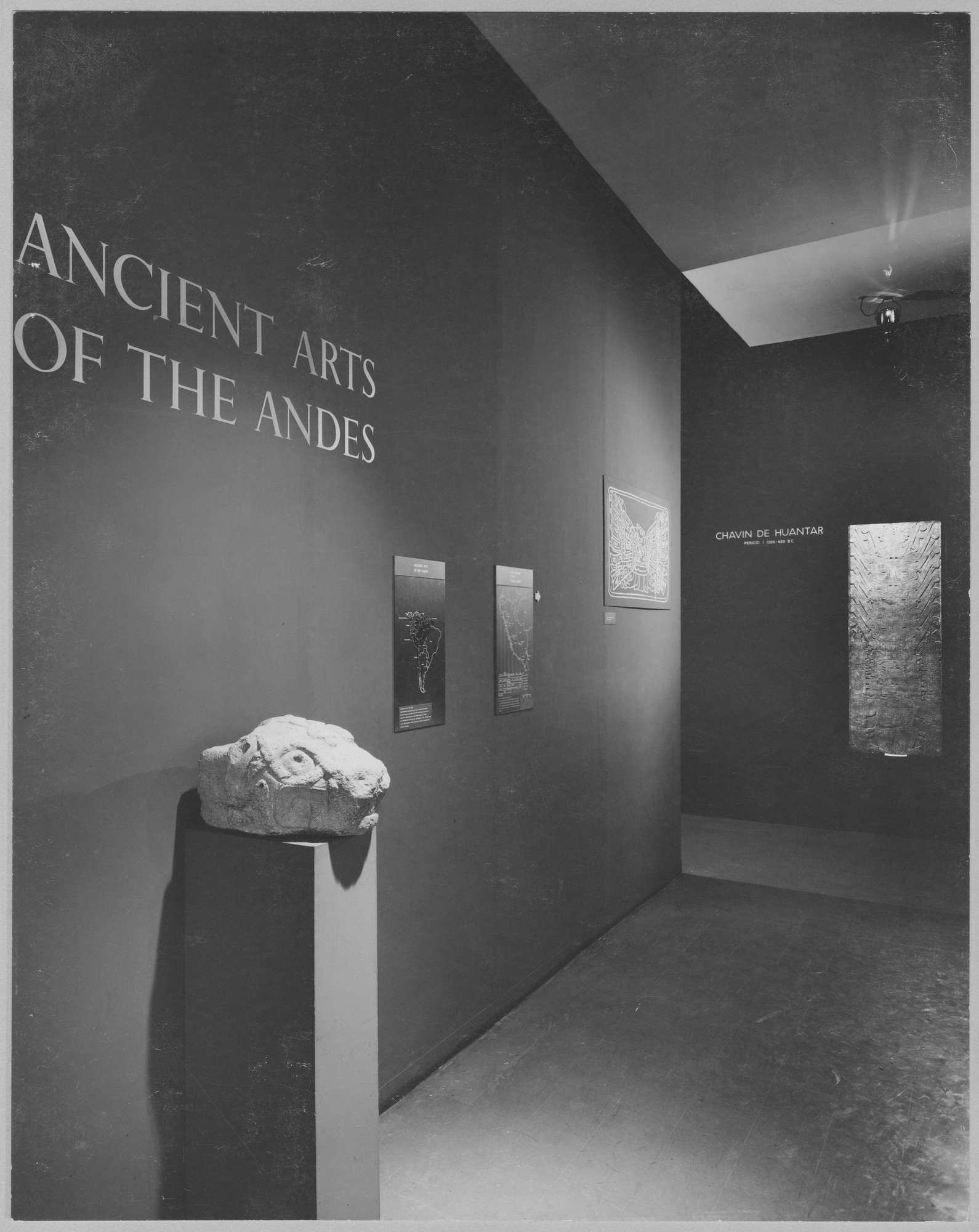 "Installation view of the exhibition, ""Ancient Arts of the Andes"" January 25, 1954–March 21, 1954. Photographic Archive. The Museum of Modern Art Archives, New York. IN550.1. Photograph by Alexandre Georges."