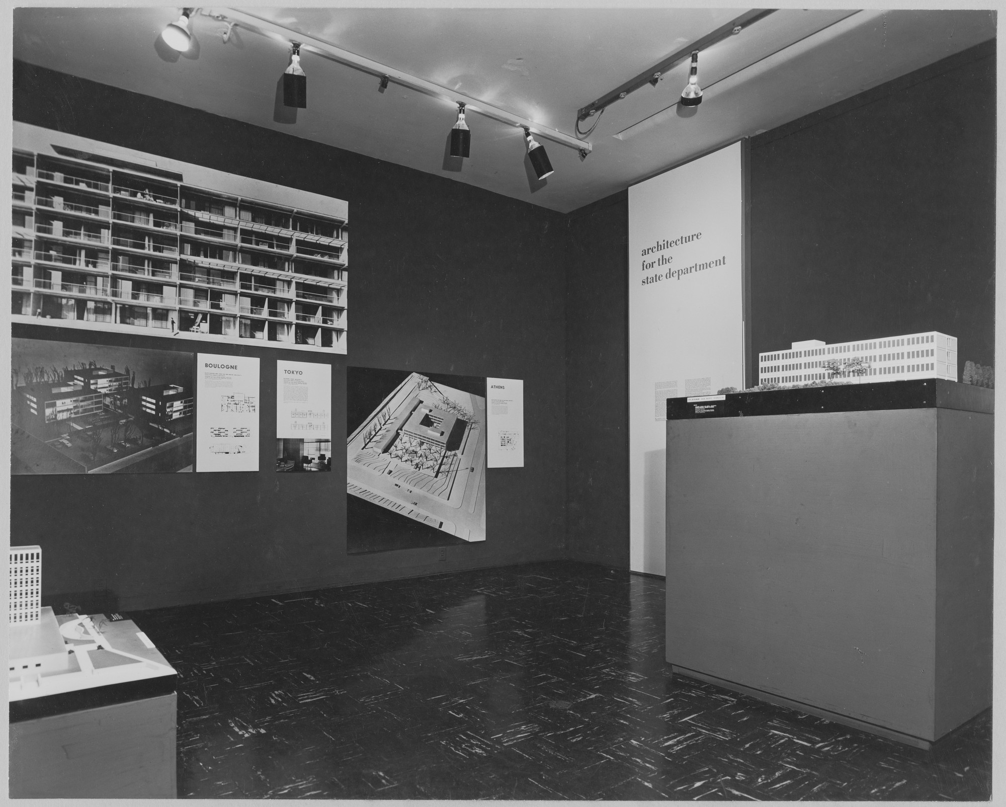 "Installation view of the exhibition, ""Architecture for the State Department."" October 6, 1953–November 22, 1953. Photographic Archive. The Museum of Modern Art Archives, New York. IN543.1. Photograph by Soichi Sunami."
