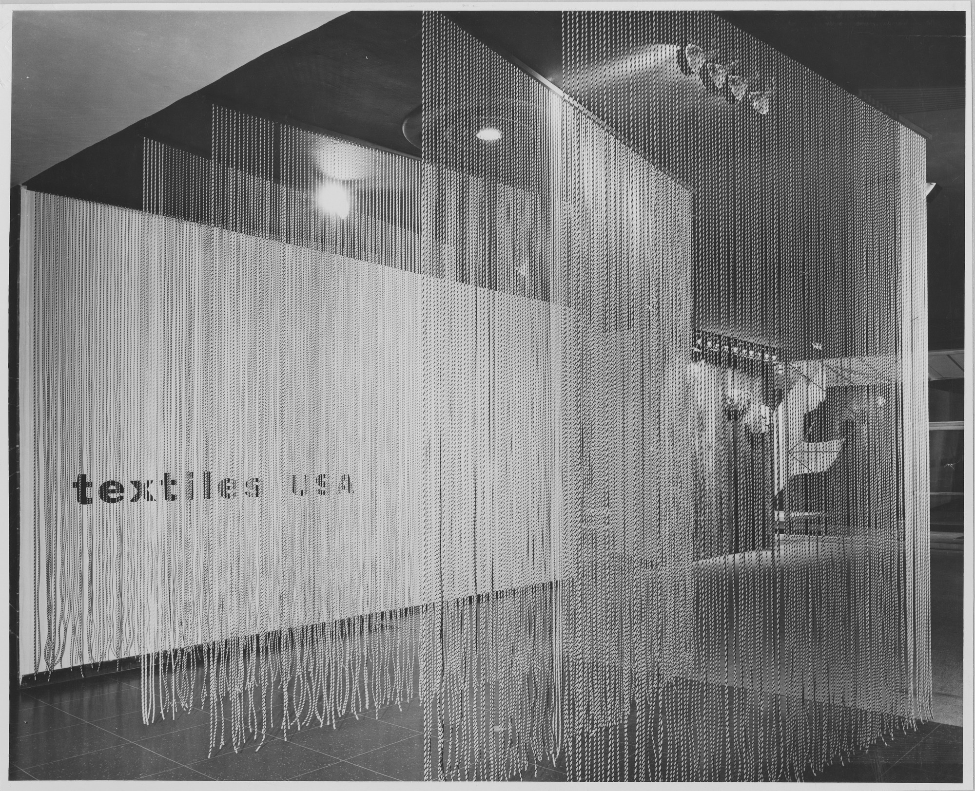 "Installation view of the exhibition, ""Textiles U.S.A."" August 29, 1956–November 4, 1956. Photographic Archive. The Museum of Modern Art Archives, New York. IN606.1. Photograph by George Barrows."