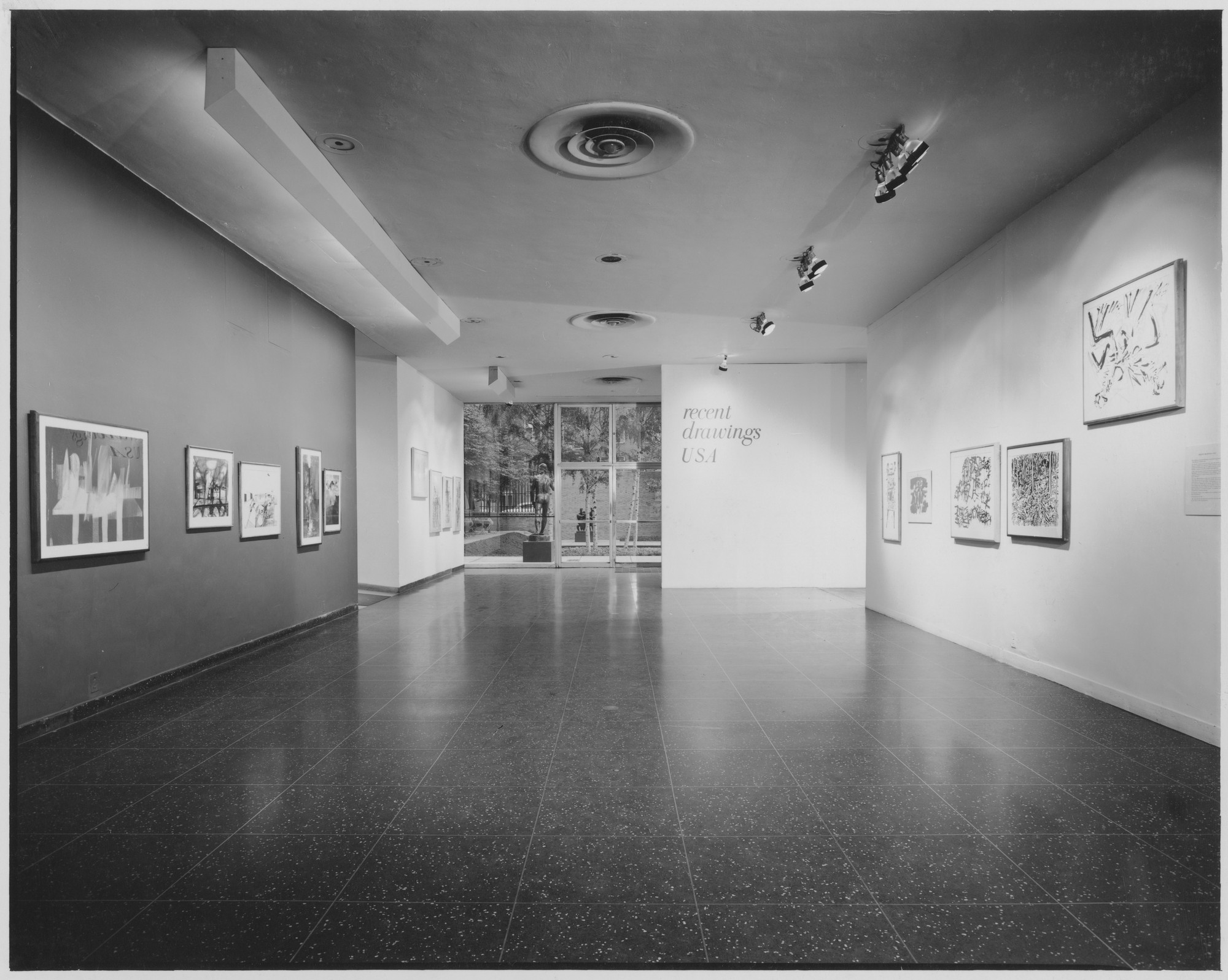 "Installation view of the exhibition, ""Recent Drawings U.S.A."" April 25, 1956–August 25, 1956. Photographic Archive. The Museum of Modern Art Archives, New York. IN601.1. Photograph by Alexandre Georges."