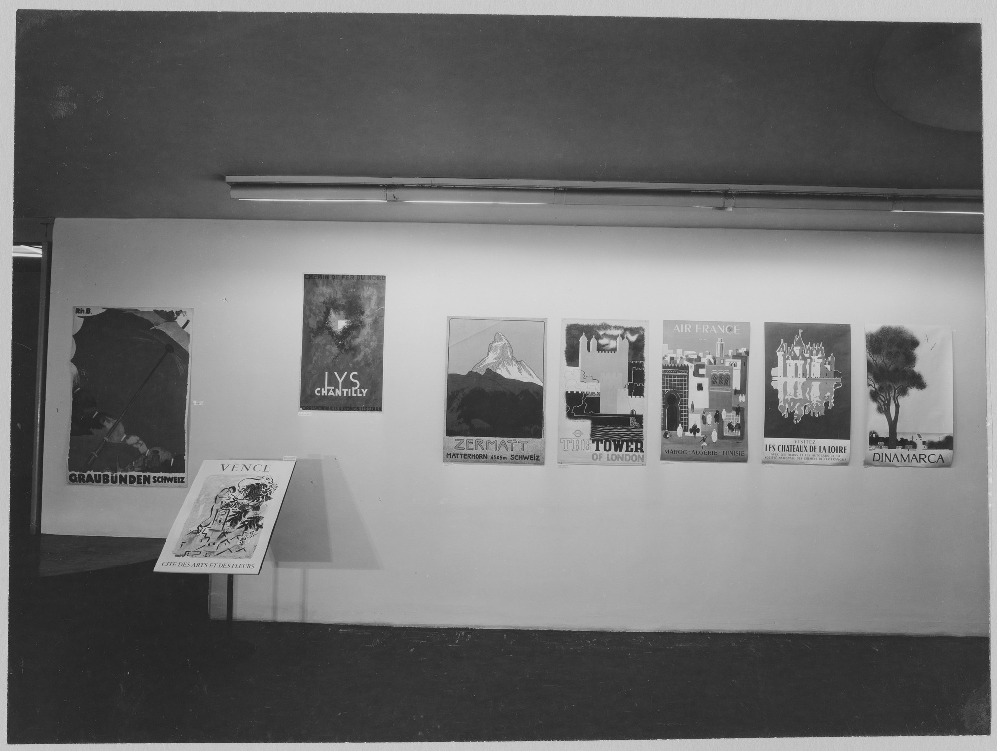 "Installation view of the exhibition, ""Travel Posters."" March 6, 1957–April 7, 1957. Photographic Archive. The Museum of Modern Art Archives, New York. IN616.1. Photograph by Soichi Sunami."