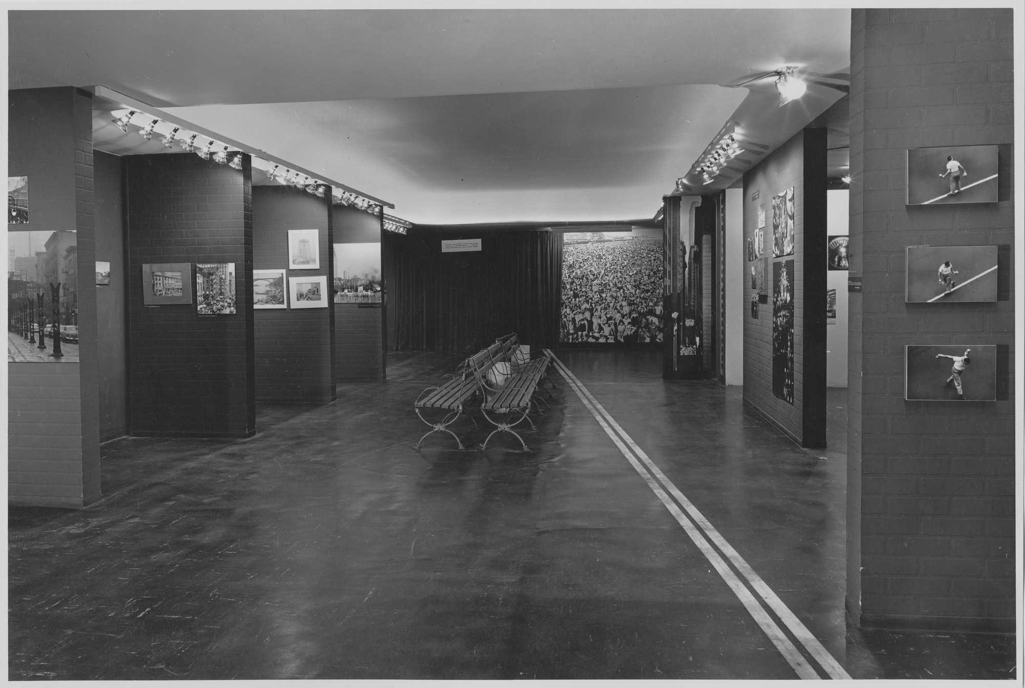 "Installation view of the exhibition, ""70 Photographers Look at New York."" November 27, 1957–April 15, 1958. Photographic Archive. The Museum of Modern Art Archives, New York. IN624.1. Photograph by Rolf Petersen."