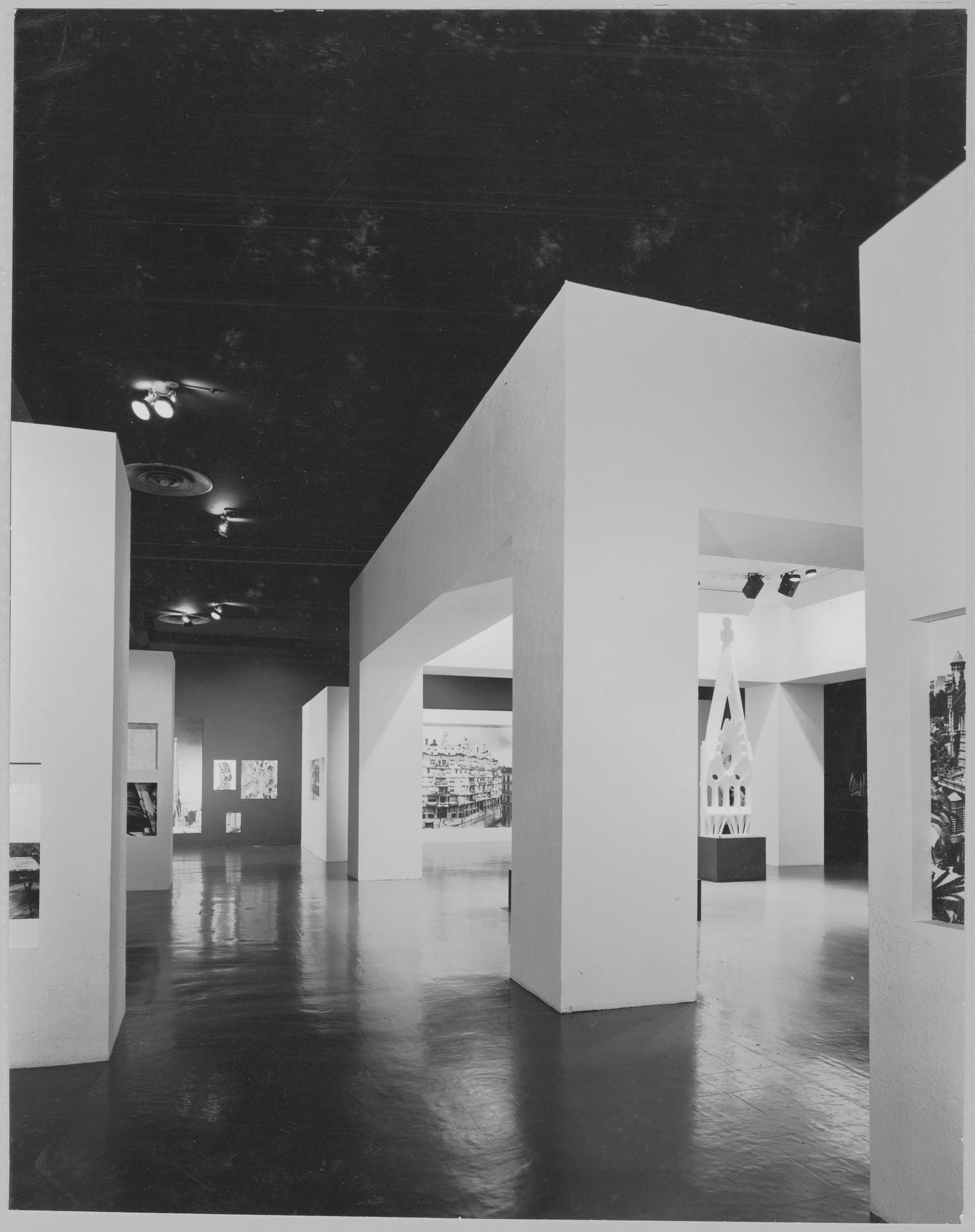 "Installation view of the exhibition, ""Gaudí"" December 18, 1957–February 23, 1958. Photographic Archive. The Museum of Modern Art Archives, New York. IN627.1. Photograph by Alexandre Georges."