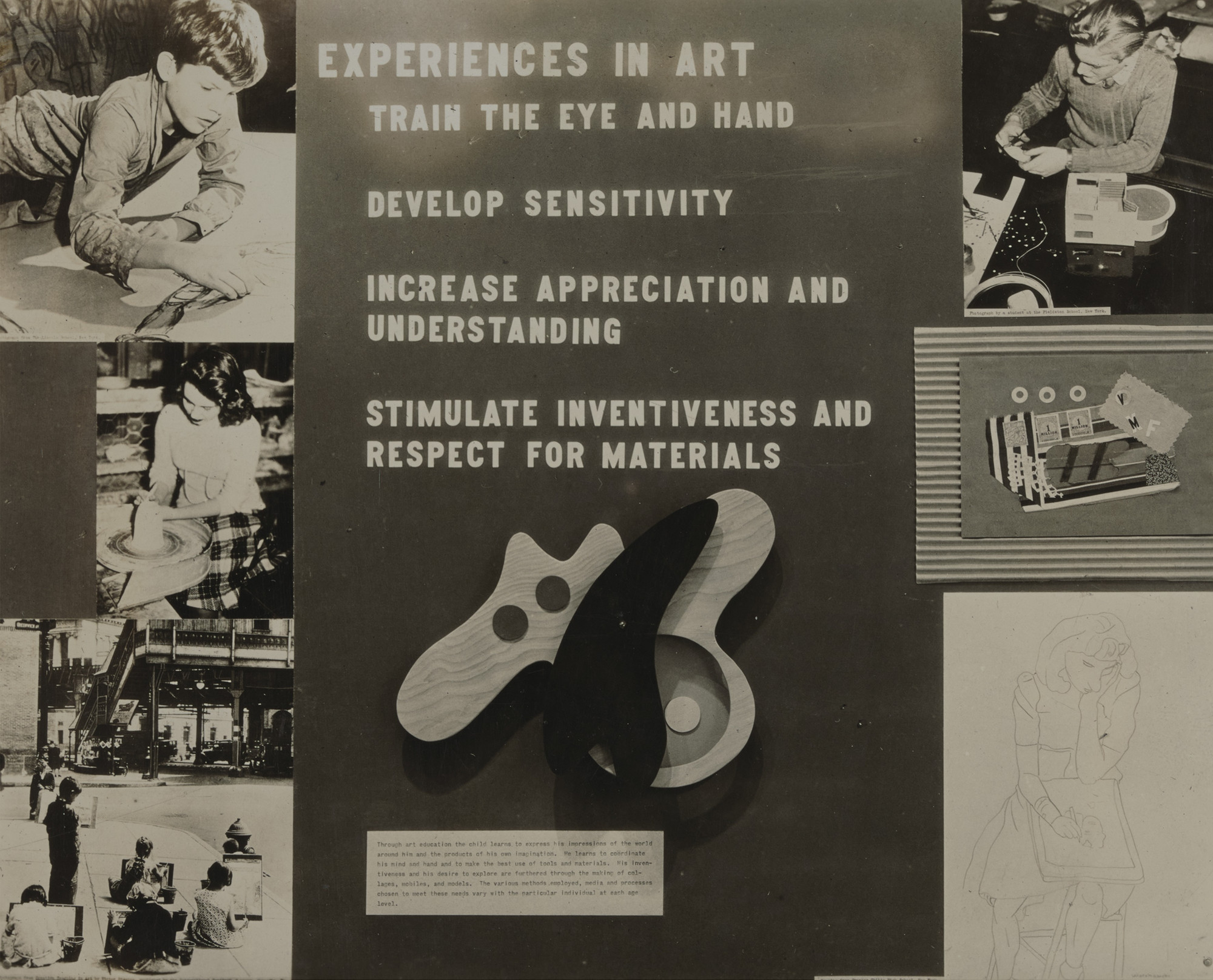 "Installation view of the exhibition, ""Art Education in Wartime"" January 27, 1943–February 22, 1943. Department of Circulating Exhibitions Records, III.24.4. The Museum of Modern Art Archives, New York. IN214.1. Photograph by Soichi Sunami."