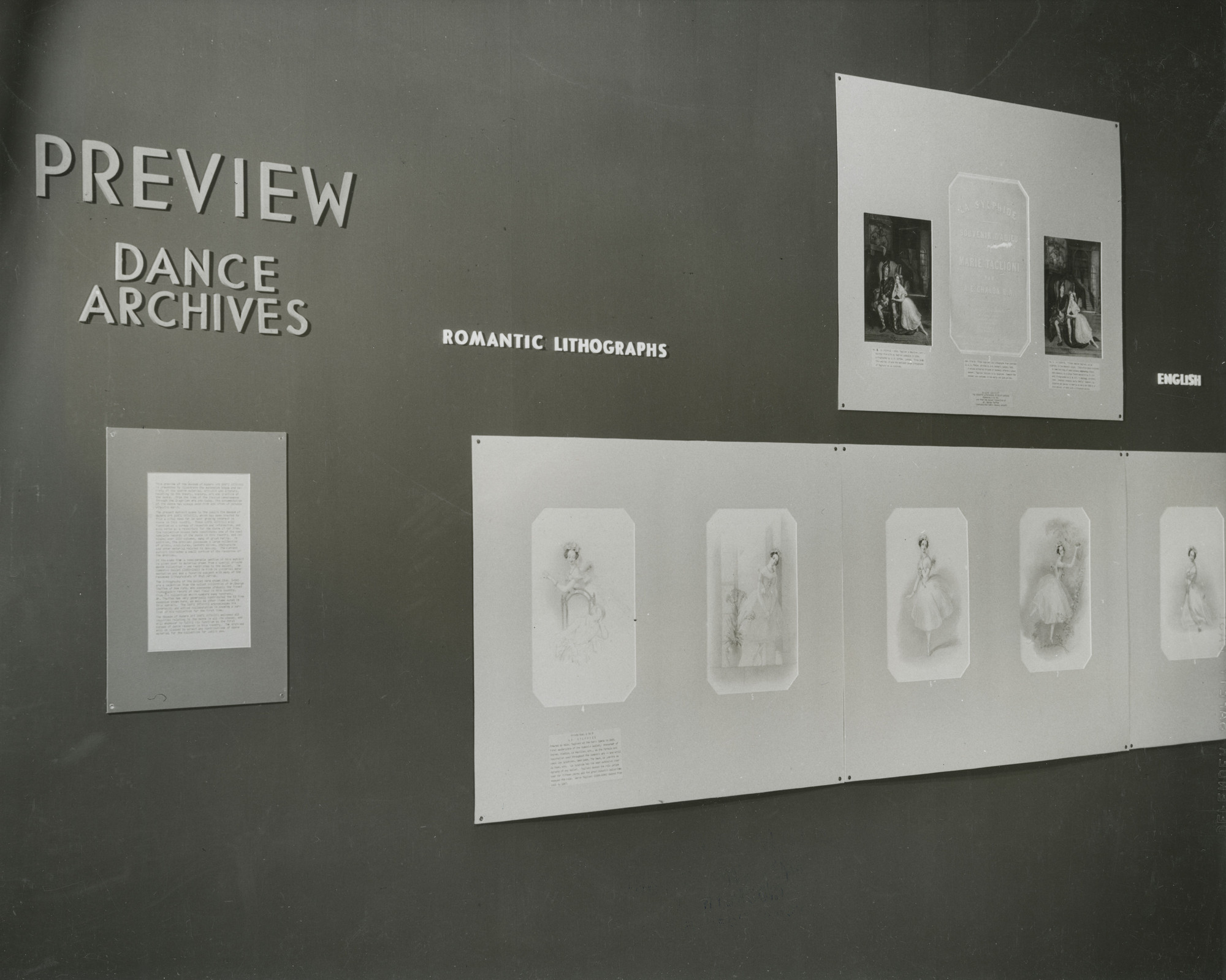 "Installation view of the exhibition, ""Preview: Dance Archives"" March 6, 1940–April 7, 1940. William S. Lieberman Papers, IV.2. The Museum of Modern Art Archives, New York. IN100.1. Photograph by Tom Draper."