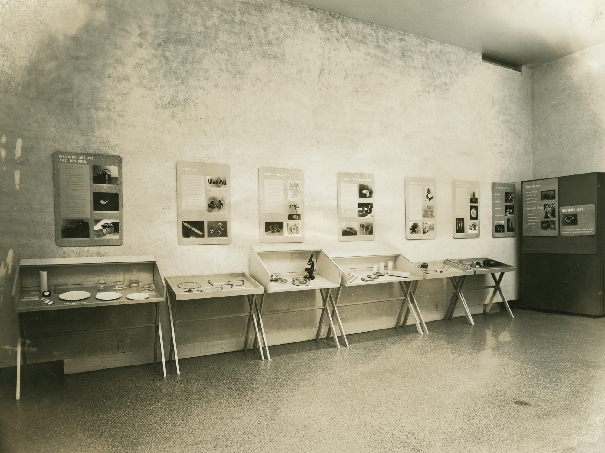 "Installation view of the exhibition, ""Machine Art"" March 7, 1938–March 31, 1938. Victor D'Amico Papers, VI.1. The Museum of Modern Art Archives, New York. IN73.1. Photograph by Soichi Sunami."