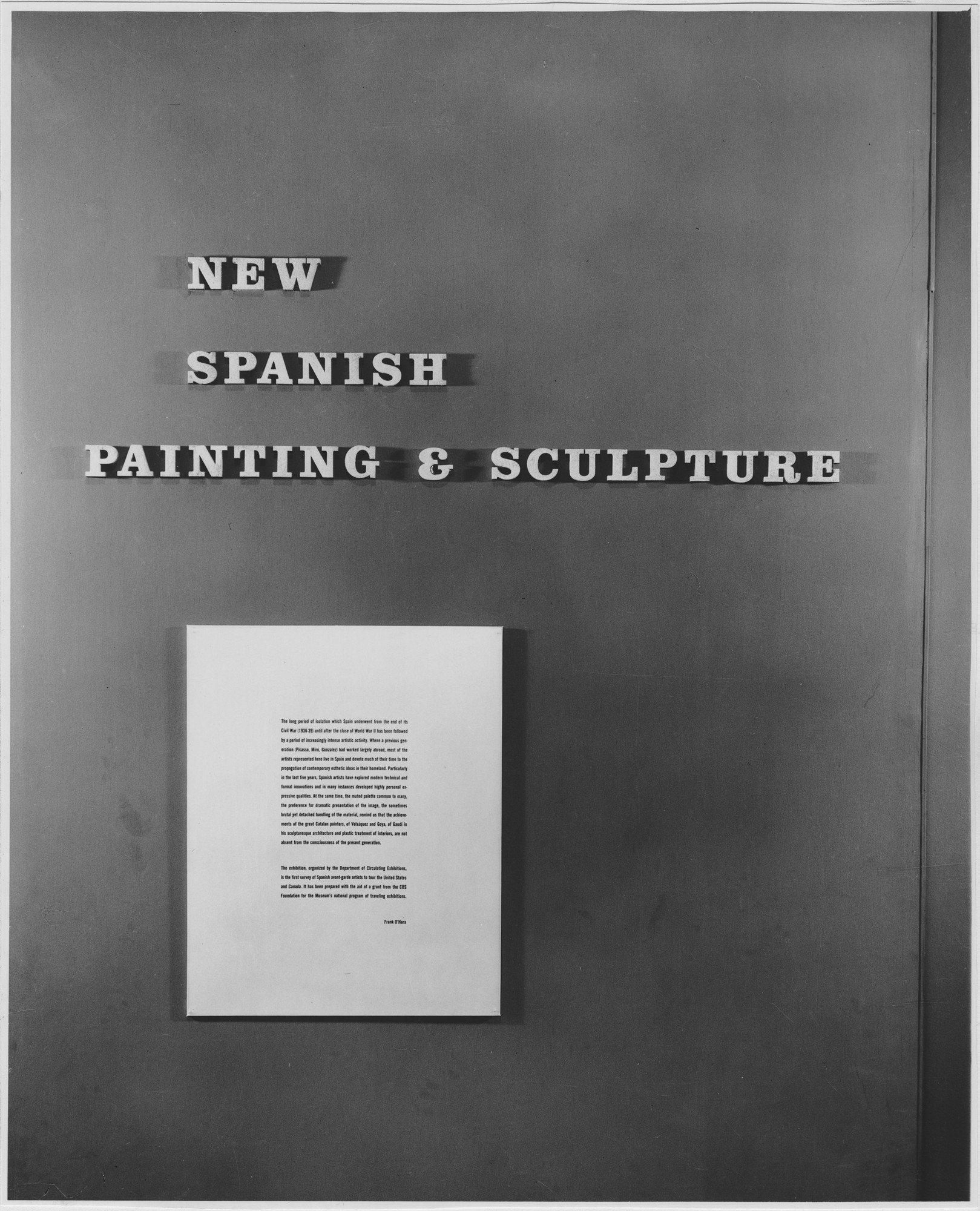 "Installation view of the exhibition, ""New Spanish Painting and Sculpture."" July 20, 1960–September 28, 1960. Photographic Archive. The Museum of Modern Art Archives, New York. IN668.1. Photograph by George Barrows."