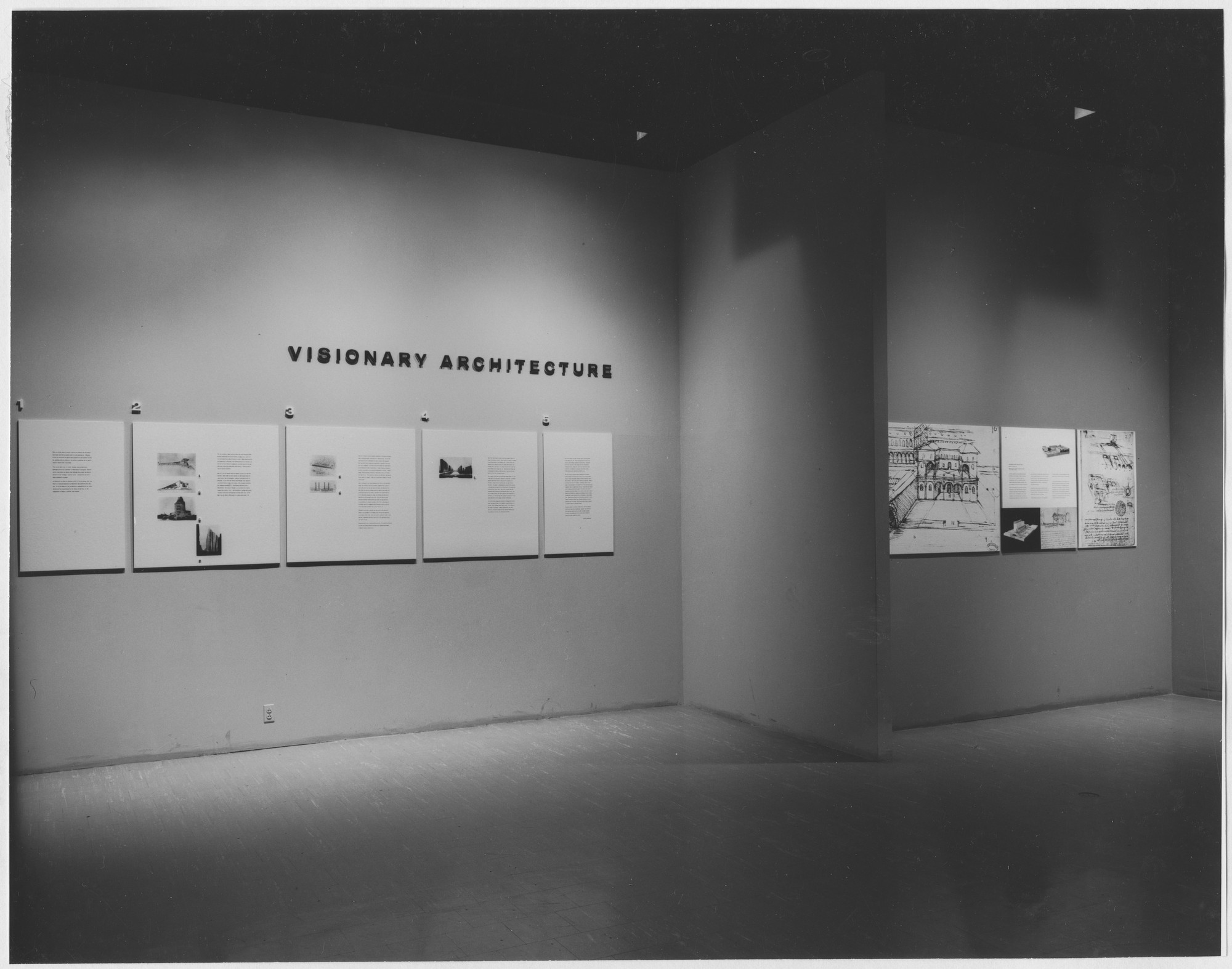 "Installation view of the exhibition, ""Visionary Architecture."" September 29, 1960–December 4, 1960. Photographic Archive. The Museum of Modern Art Archives, New York. IN670.1. Photograph by George Barrows."