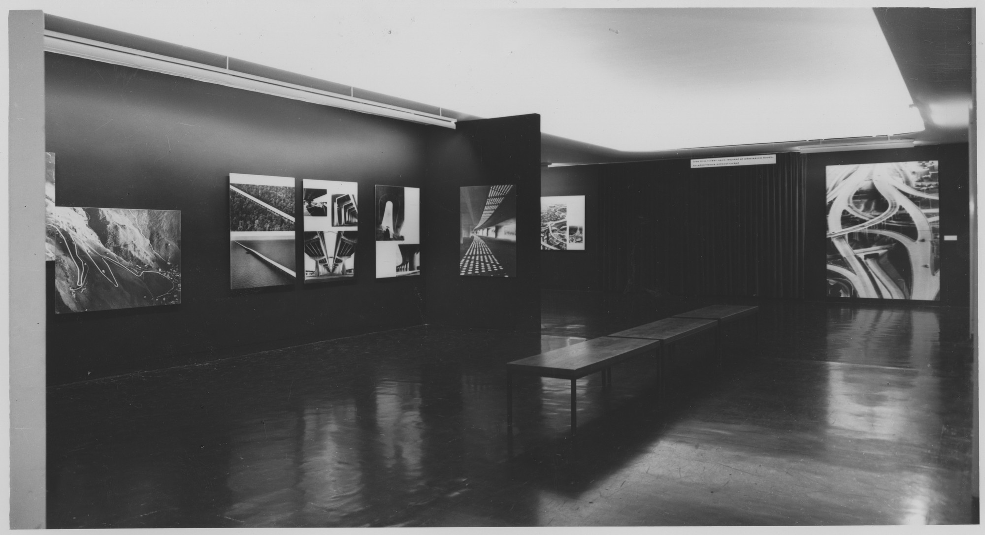 "Installation view of the exhibition, ""Roads."" August 14, 1961–September 17, 1961. Photographic Archive. The Museum of Modern Art Archives, New York. IN691.1. Photograph by George Barrows."