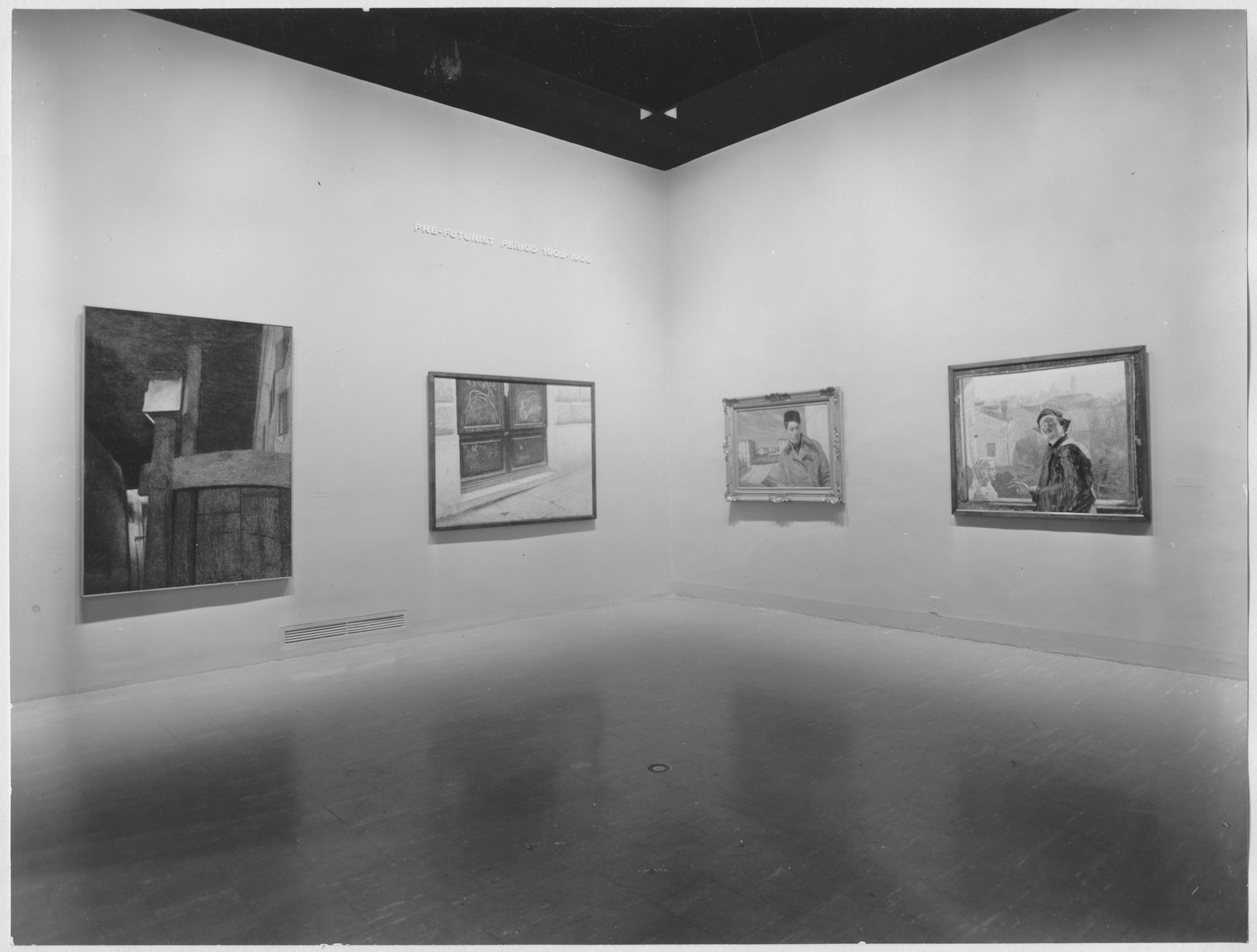 "Installation view of the exhibition, ""Futurism."" May 30, 1961–September 5, 1961. Photographic Archive. The Museum of Modern Art Archives, New York. IN685.1. Photograph by Soichi Sunami."