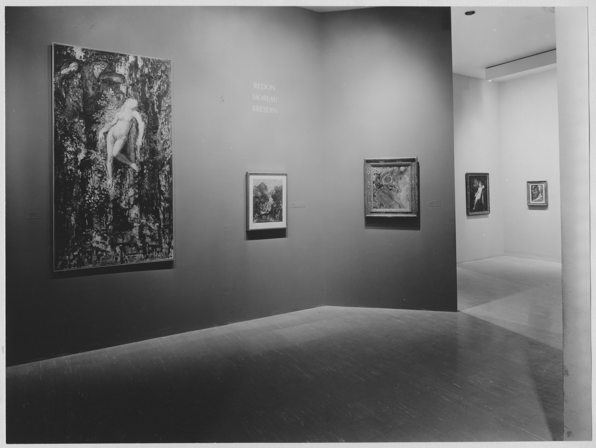 "Installation view of the exhibition, ""Redon, Moreau, Bresdin."" December 6, 1961–February 25, 1962. Photographic Archive. The Museum of Modern Art Archives, New York. IN699.1. Photograph by Soichi Sunami."