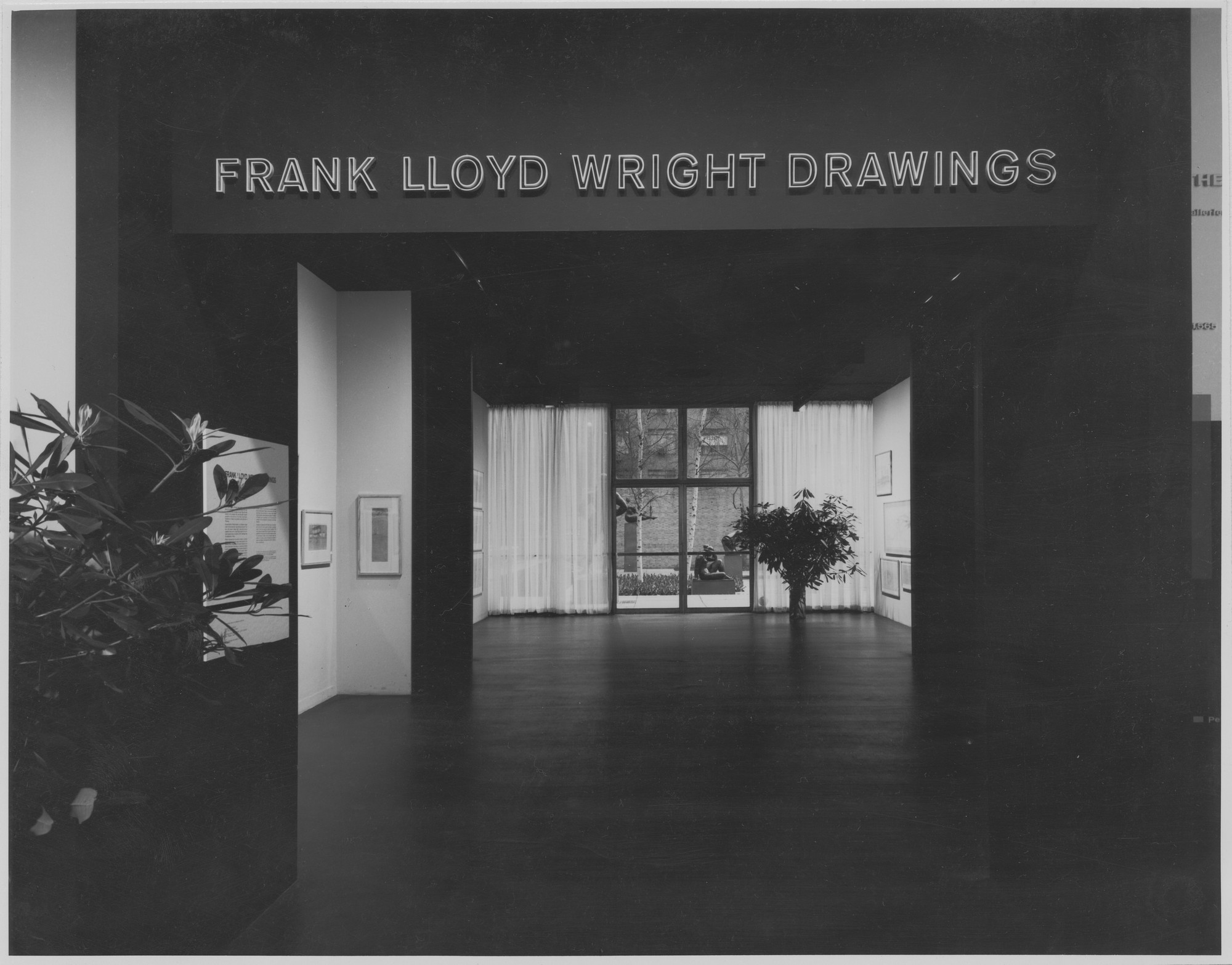 "Installation view of the exhibition, ""Frank Lloyd Wright Drawings."" March 14, 1962–May 6, 1962. Photographic Archive. The Museum of Modern Art Archives, New York. IN703.1. Photograph by George Barrows."