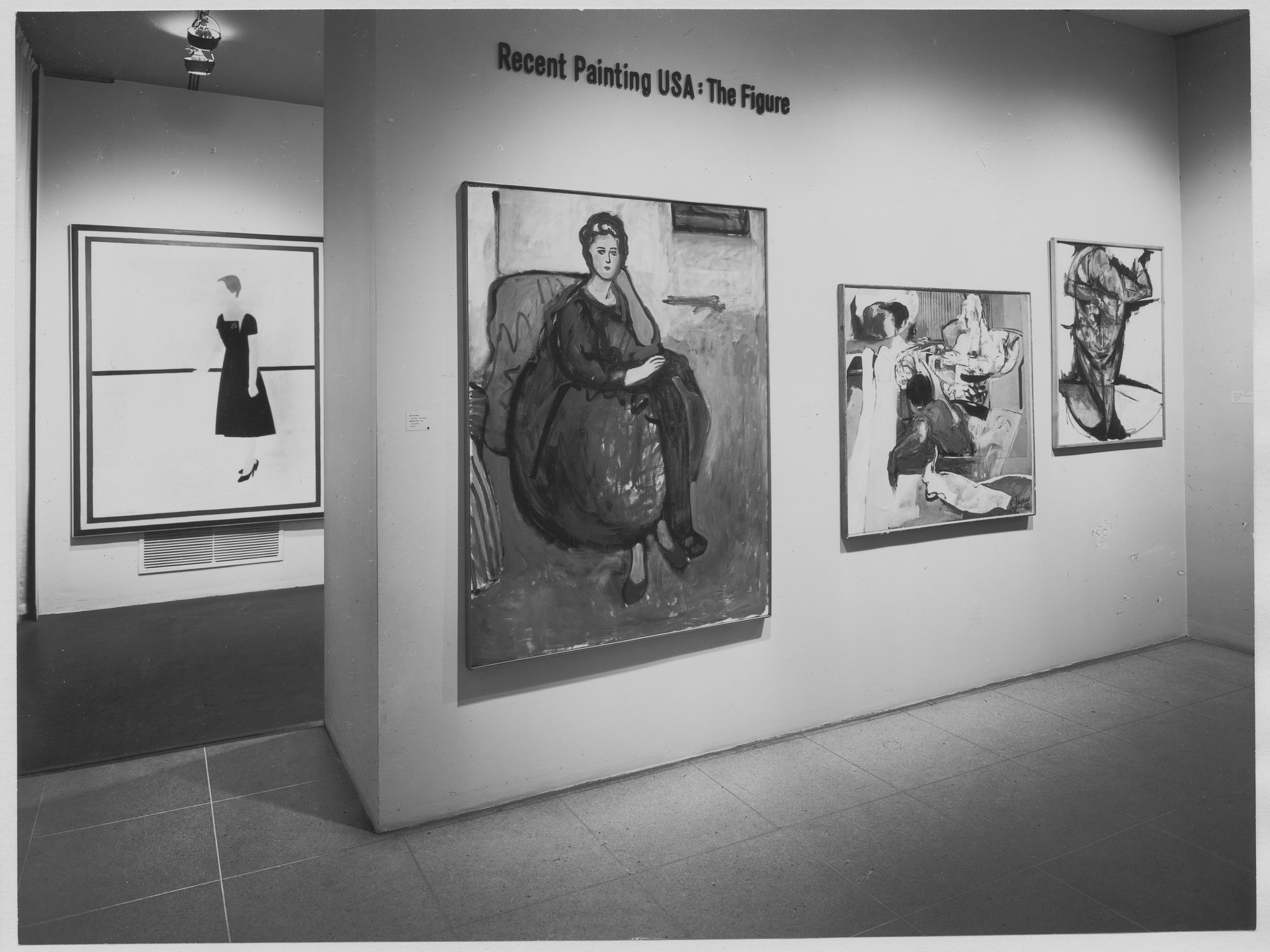 "Installation view of the exhibition, ""Recent Paintings U.S.A.:  The Figure."" May 23, 1962–August 26, 1962. Photographic Archive. The Museum of Modern Art Archives, New York. IN707.1. Photograph by Soichi Sunami."