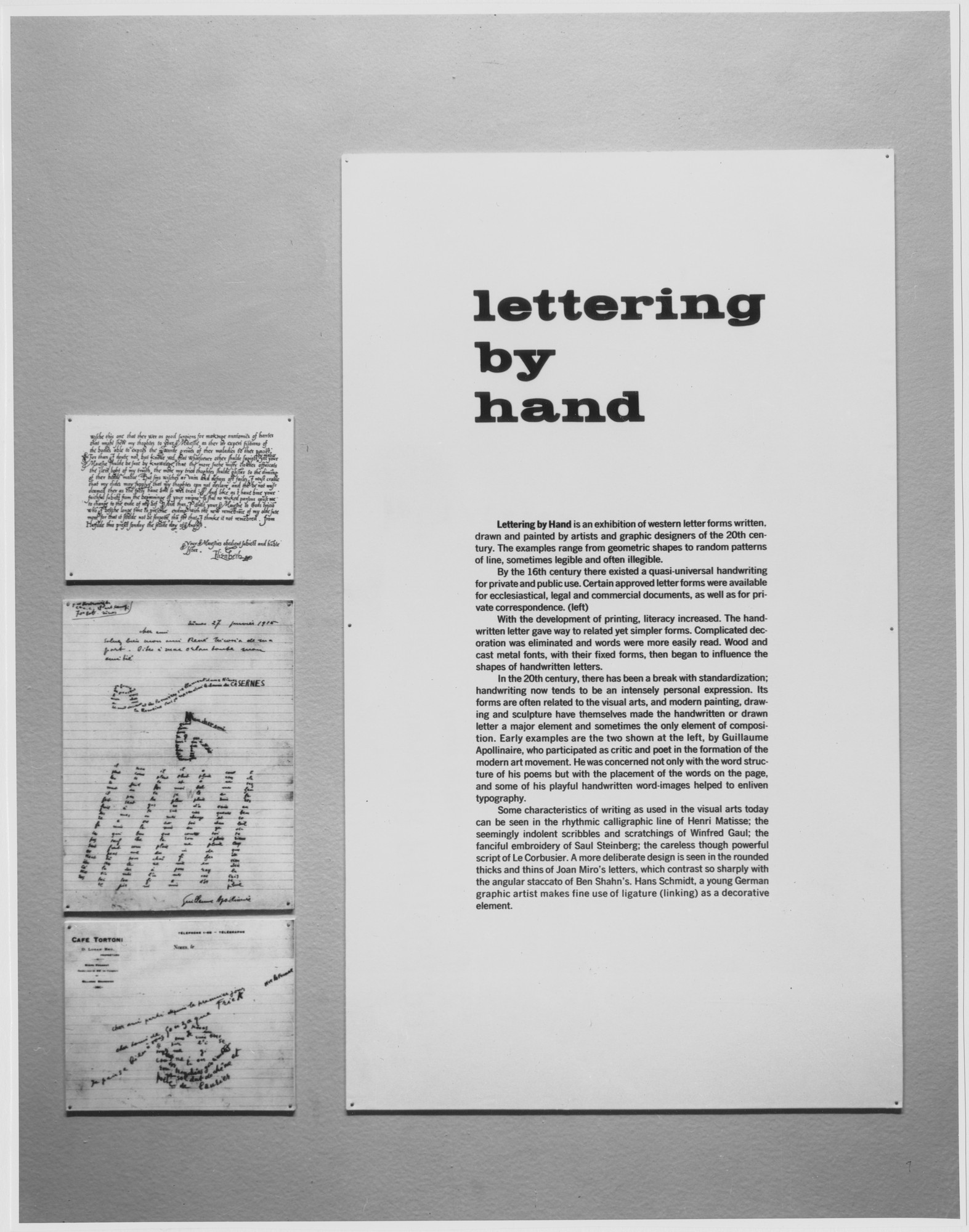 "Installation view of the exhibition, ""Lettering by Hand."" November 6, 1962–January 6, 1963. Photographic Archive. The Museum of Modern Art Archives, New York. IN714.1. Photograph by George Barrows."
