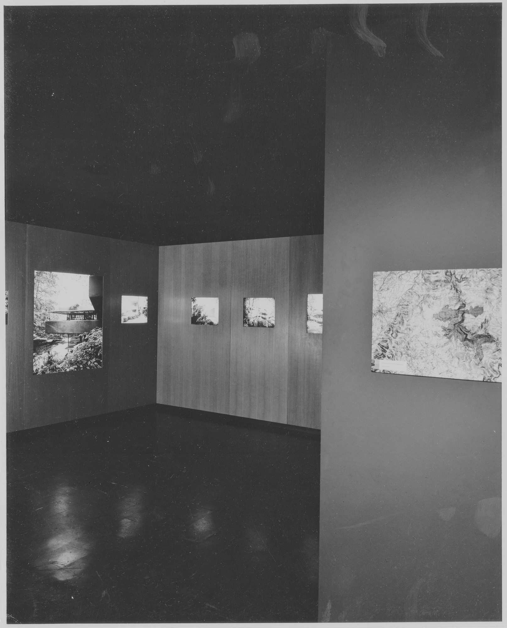 "Installation view of the exhibition, ""Falling Water:  A Frank Lloyd Wright House Revisited."" November 1, 1963–December 1, 1963. Photographic Archive. The Museum of Modern Art Archives, New York. IN731.1. Photograph by George Barrows."