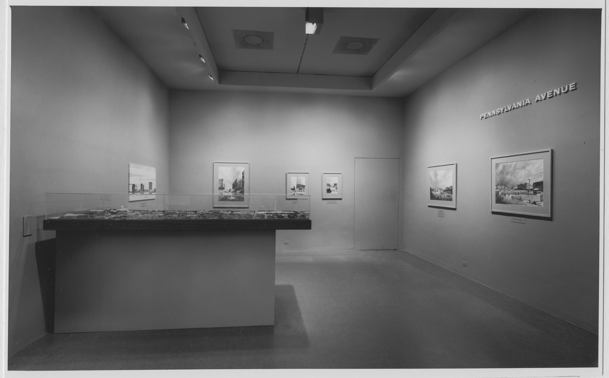 "Installation view of the exhibition, ""Pennsylvania Avenue, Washington, D.C."" August 1, 1964–September 13, 1964. Photographic Archive. The Museum of Modern Art Archives, New York. IN745.1. Photograph by George Cserna."