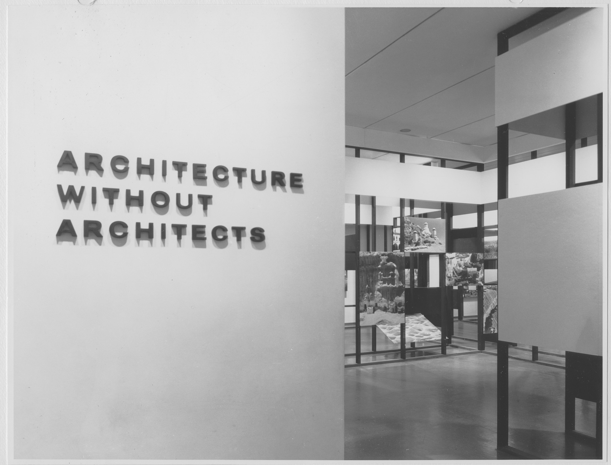 "Installation view of the exhibition, ""Architecture Without Architects."" November 11, 1964–February 7, 1965. Photographic Archive. The Museum of Modern Art Archives, New York. IN752.1. Photograph by Rolf Petersen."