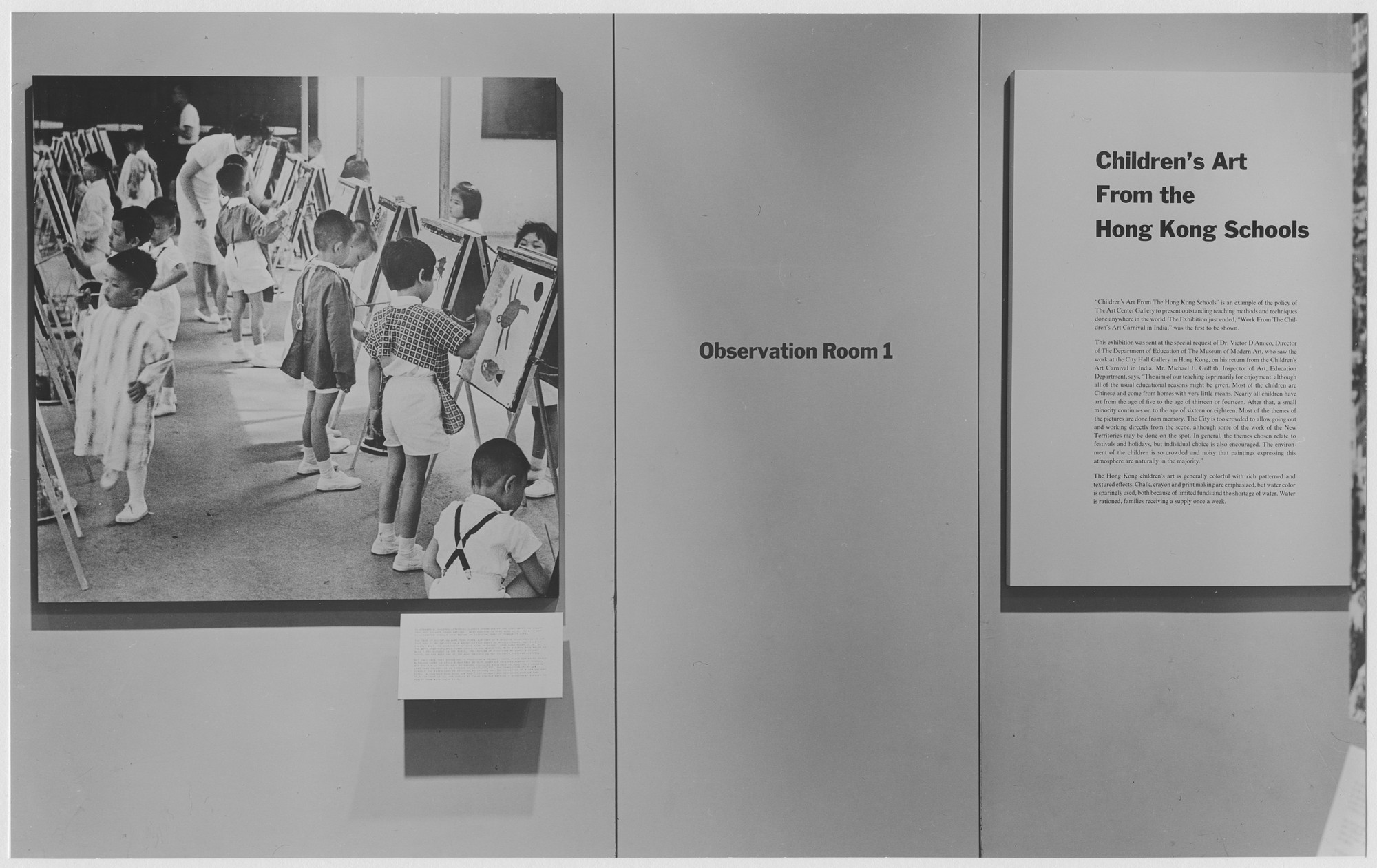 "Installation view of the exhibition, ""Children's Art from the Hong Kong Schools."" March 9, 1965–April 3, 1965. Photographic Archive. The Museum of Modern Art Archives, New York. IN759.1. Photograph by Rolf Petersen."
