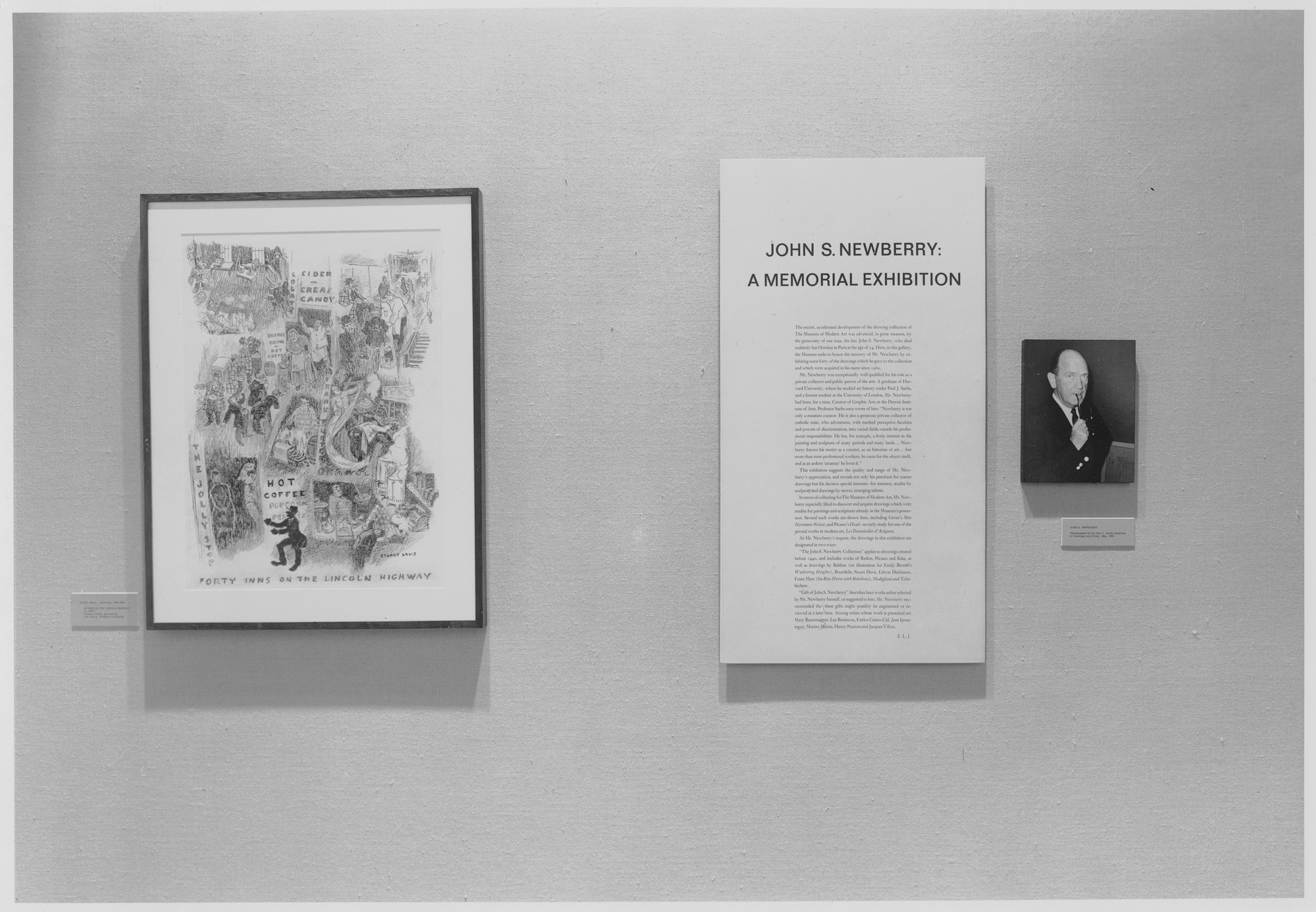 "Installation view of the exhibition, ""John S. Newberry:  A Memorial Exhibition."" April 13, 1965–July 14, 1965. Photographic Archive. The Museum of Modern Art Archives, New York. IN761.1. Photograph by Rolf Petersen."