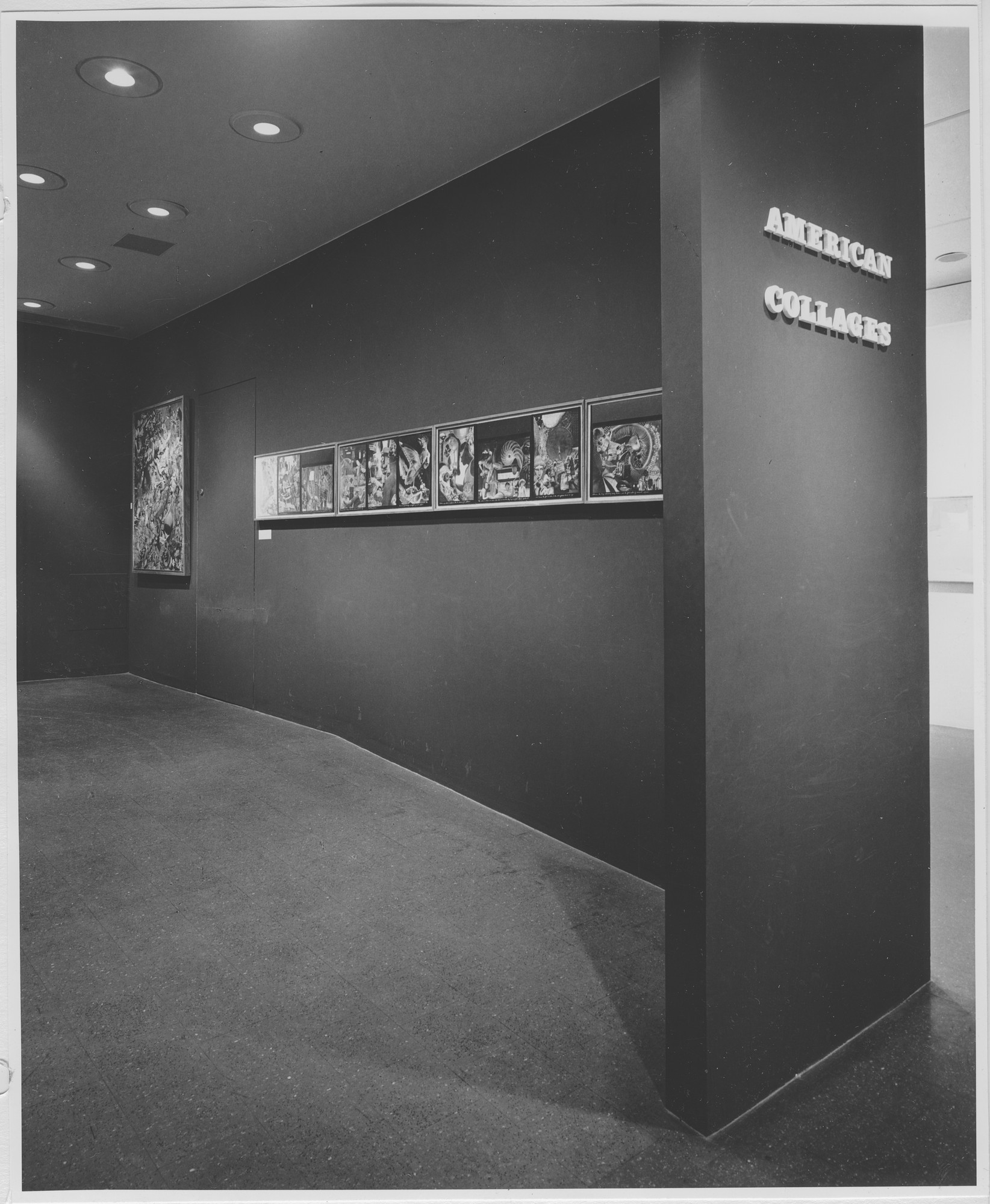 "Installation view of the exhibition, ""American Collages."" May 11, 1965–July 25, 1965. Photographic Archive. The Museum of Modern Art Archives, New York. IN766.1. Photograph by Rolf Petersen."