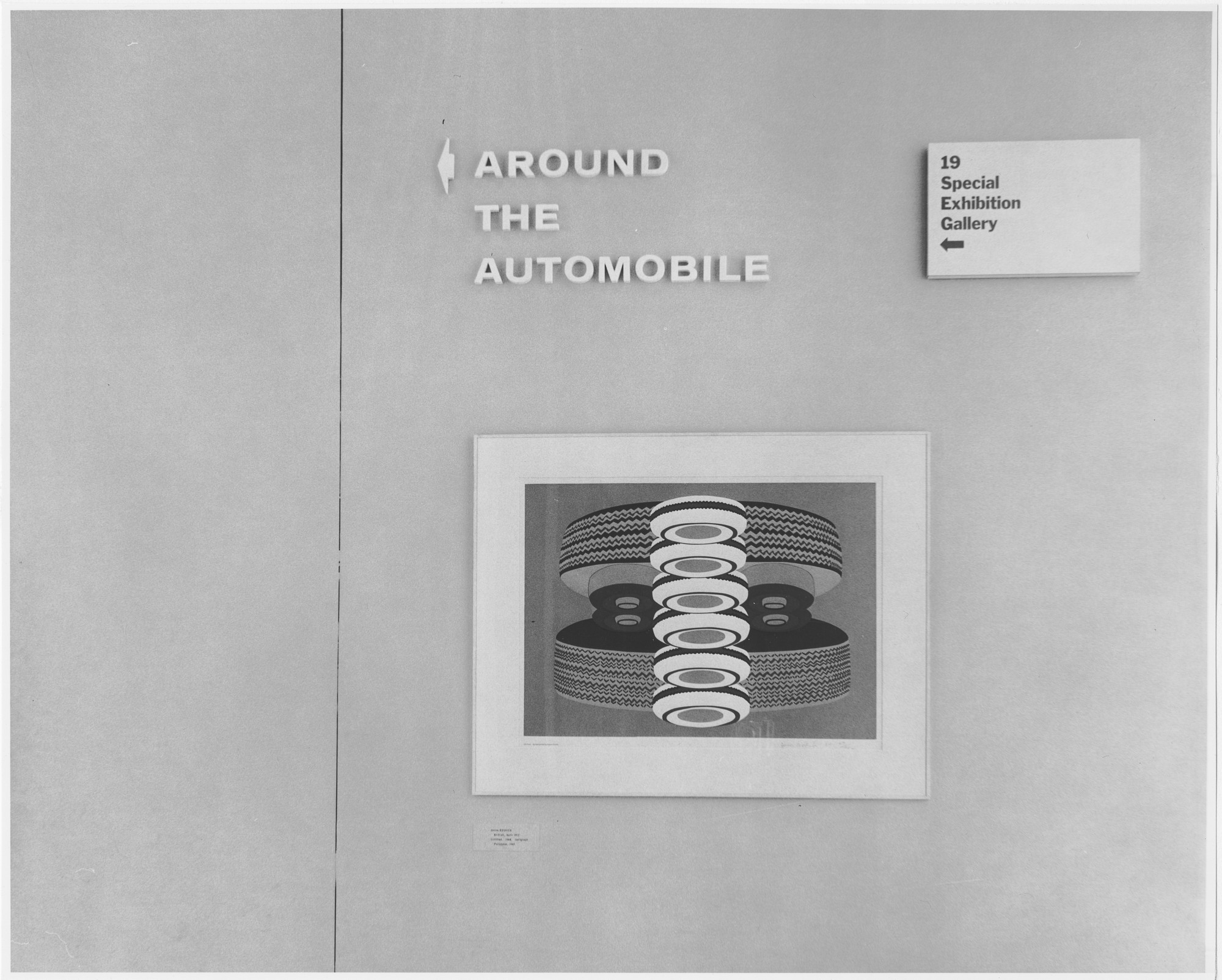 "Installation view of the exhibition, ""Around the Automobile."" December 9, 1965–March 21, 1966. Photographic Archive. The Museum of Modern Art Archives, New York. IN781.1. Photograph by Rolf Petersen."