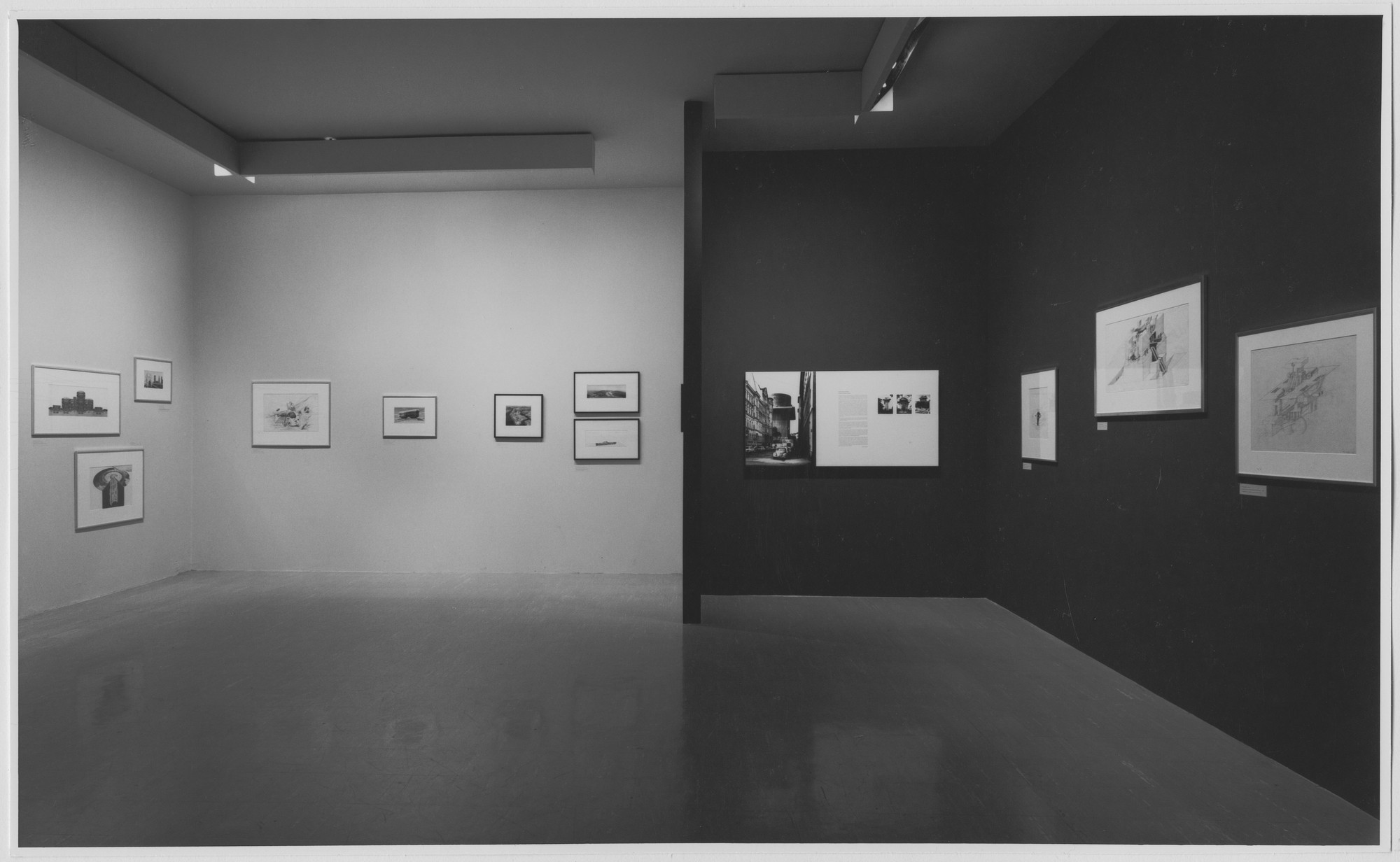 "Installation view of the exhibition, ""Architectural Fantasies:  Drawings from the MoMA Collection."" July 27, 1967–February 12, 1968. Photographic Archive. The Museum of Modern Art Archives, New York. IN836.1. Photograph by George Cserna."
