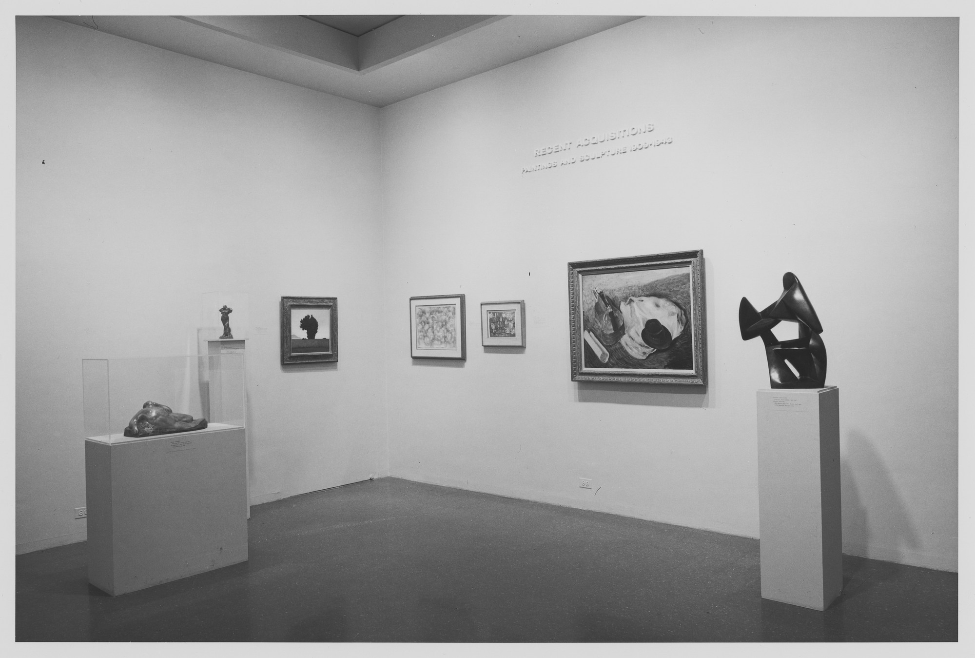"Installation view of the exhibition, ""Recent Acquisitions:  Painting and Sculpture."" June 18, 1968–August 25, 1968. Photographic Archive. The Museum of Modern Art Archives, New York. IN860.1. Photograph by James Mathews."
