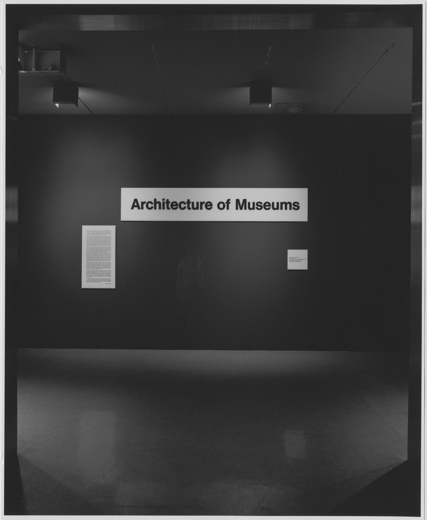 "Installation view of the exhibition, ""Architecture of Museums."" September 25, 1968–November 11, 1968. Photographic Archive. The Museum of Modern Art Archives, New York. IN867.1. Photograph by George Cserna."