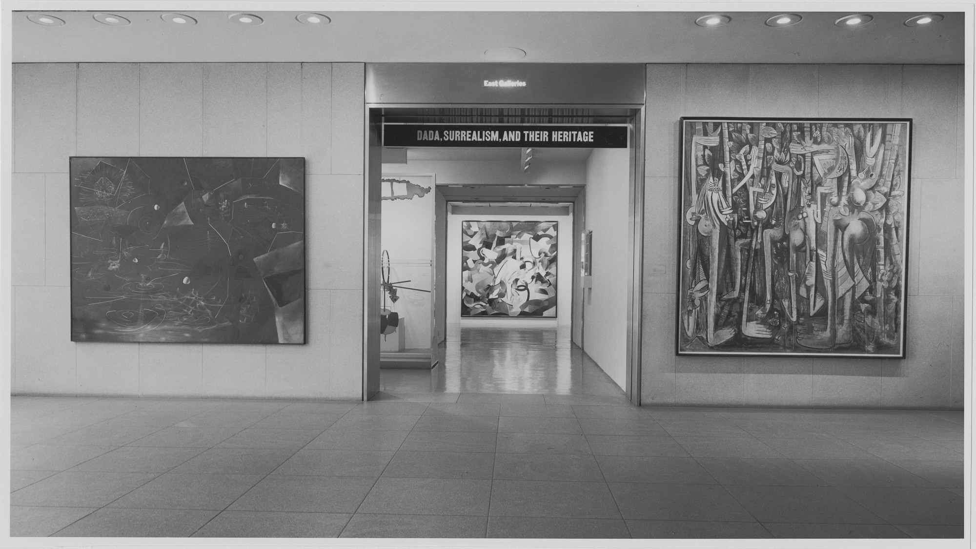 "Installation view of the exhibition, ""Dada, Surrealism and their Heritage"" March 27, 1968–June 9, 1968. Photographic Archive. The Museum of Modern Art Archives, New York. IN855.1. Photograph by James Mathews."
