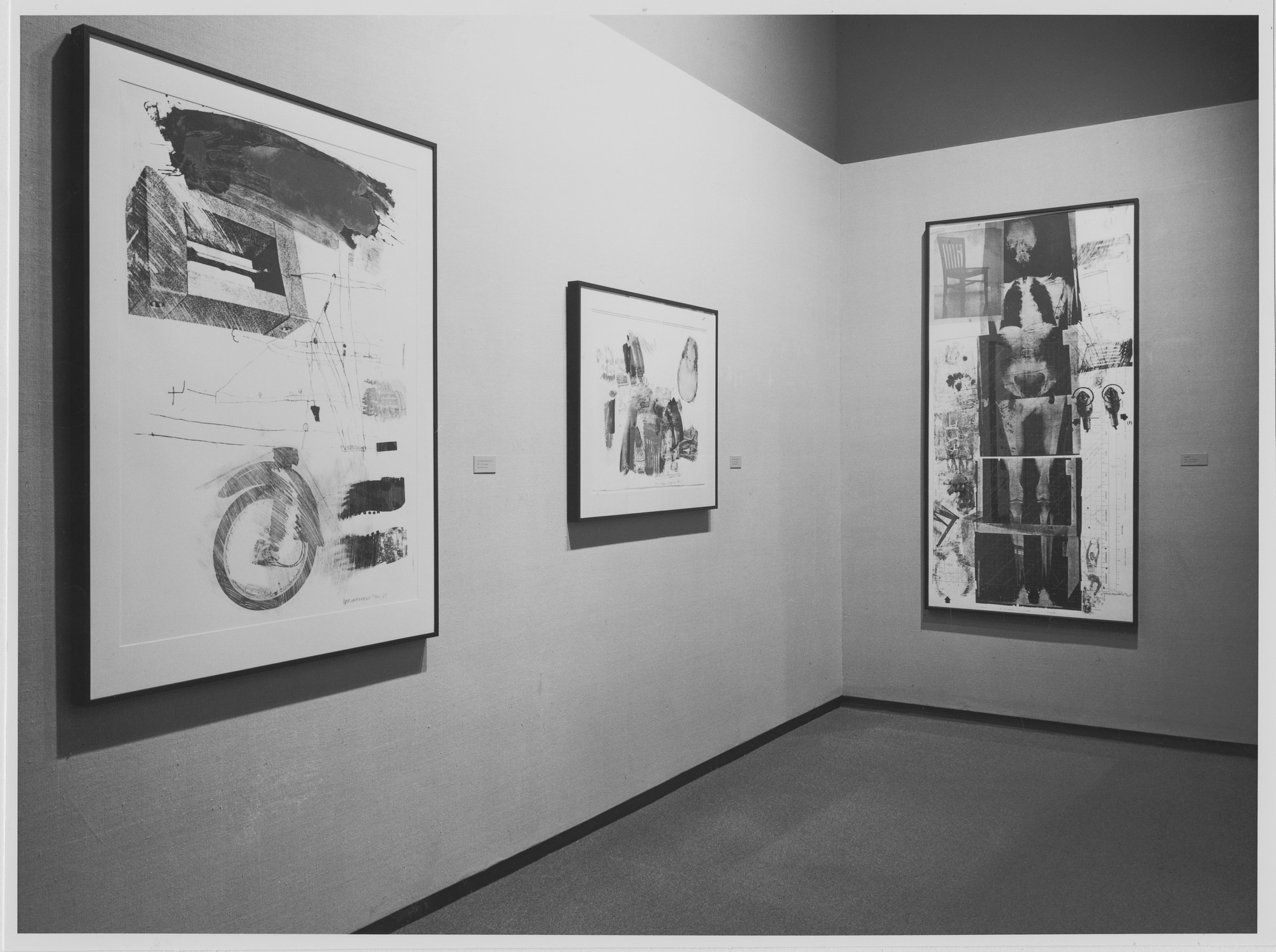 "Installation view of the exhibition, ""Rauschenberg:  Soundings."" October 29, 1968–January 26, 1969. Photographic Archive. The Museum of Modern Art Archives, New York. IN872.1. Photograph by James Mathews."