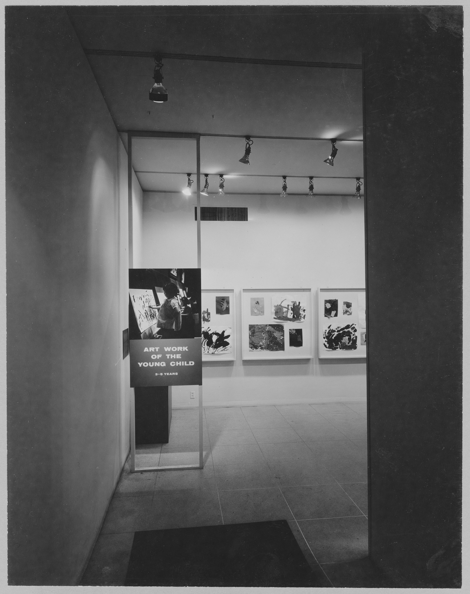 "Installation view of the exhibition, ""Art of the Young Child."" December 6, 1955–January 15, 1956. Photographic Archive. The Museum of Modern Art Archives, New York. IN593.1. Photograph by Soichi Sunami."
