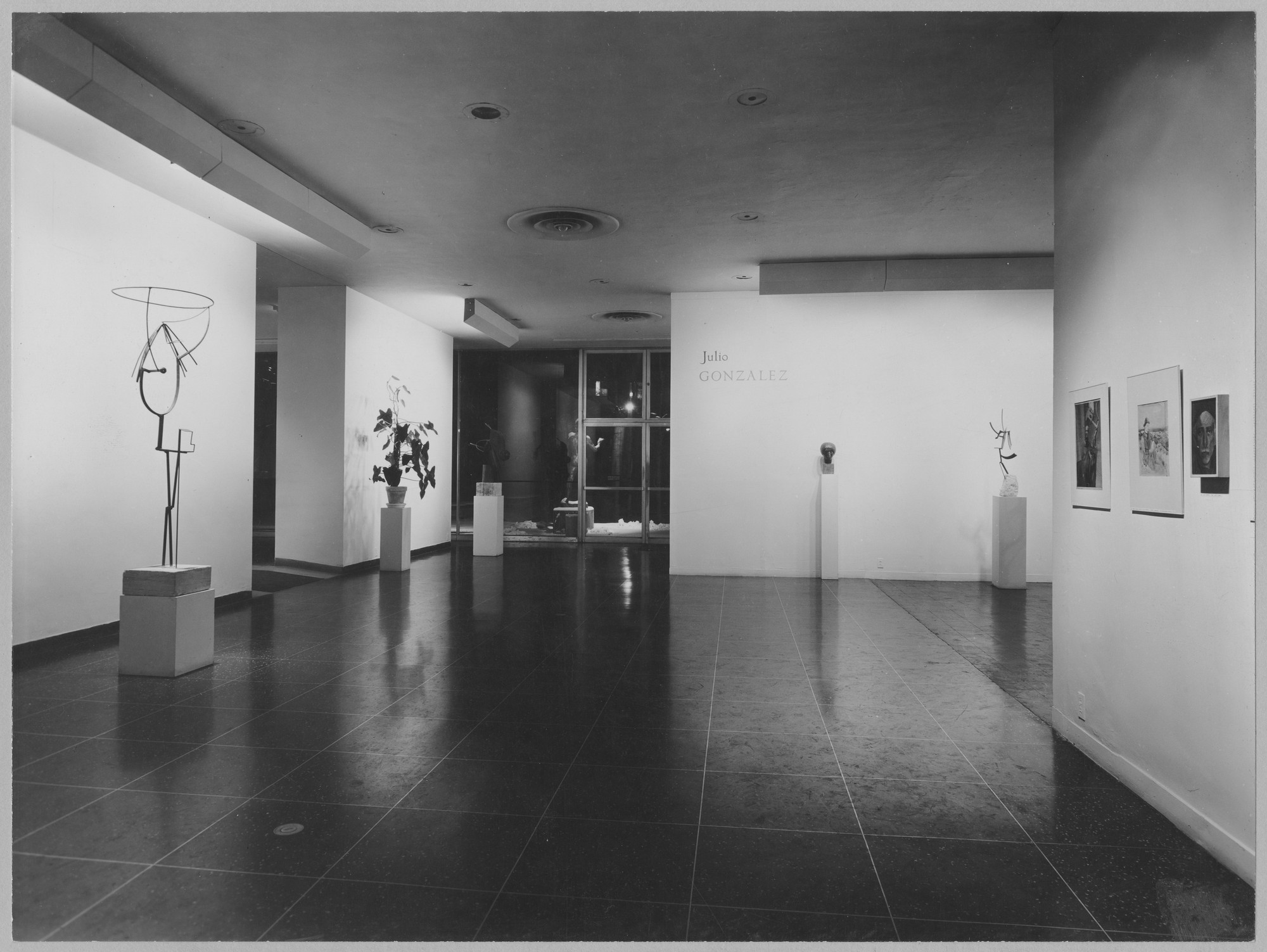 "Installation view of the exhibition, ""Julio González Retrospective"" February 8, 1956–April 8, 1956. Photographic Archive. The Museum of Modern Art Archives, New York. IN597.1. Photograph by Soichi Sunami."