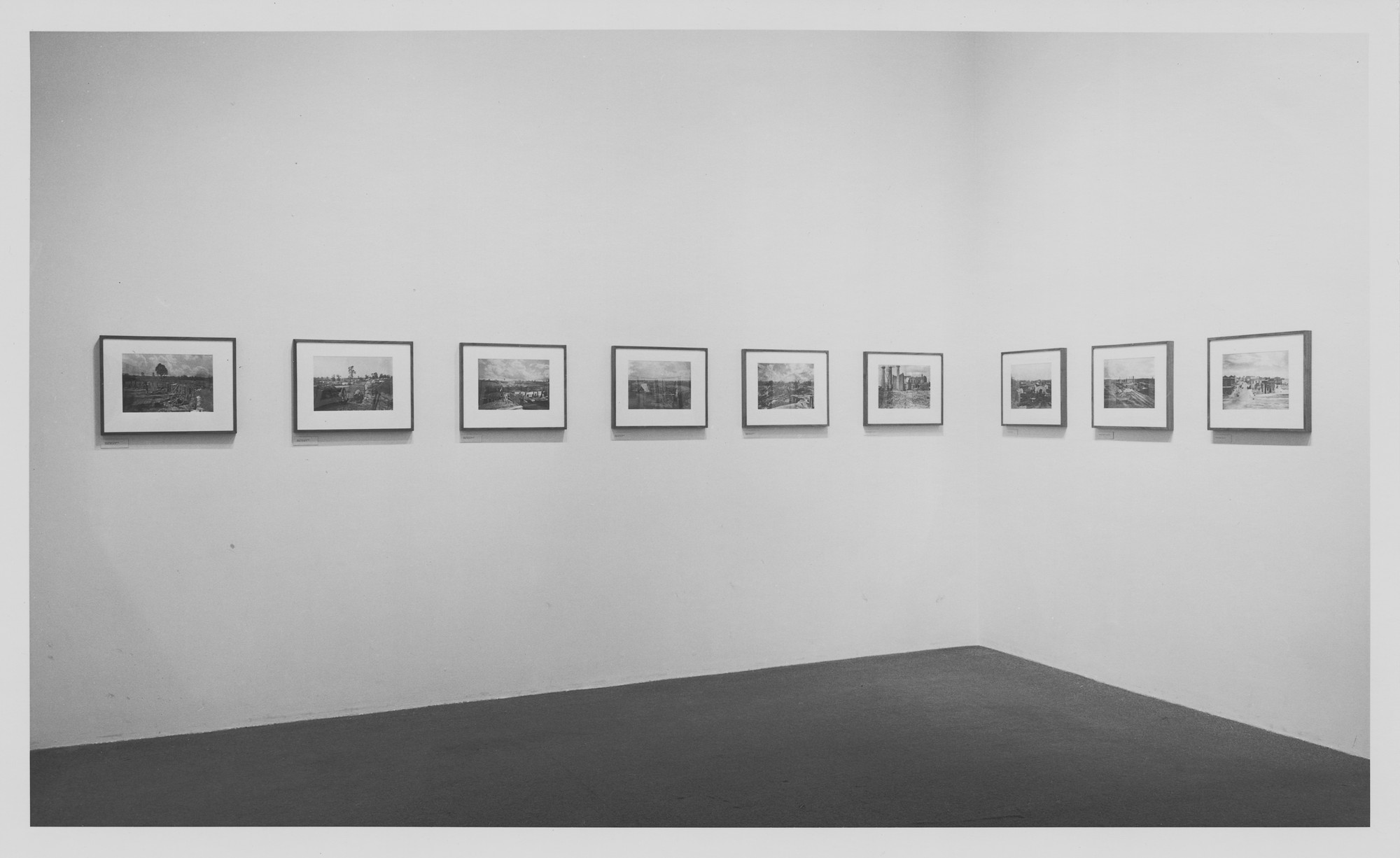 "Installation view of the exhibition, ""Sherman's Campaign:  Photographs by George N. Barnard."" January 27, 1970–April 13, 1970. Photographic Archive. The Museum of Modern Art Archives, New York. IN918.1. Photograph by James Mathews."