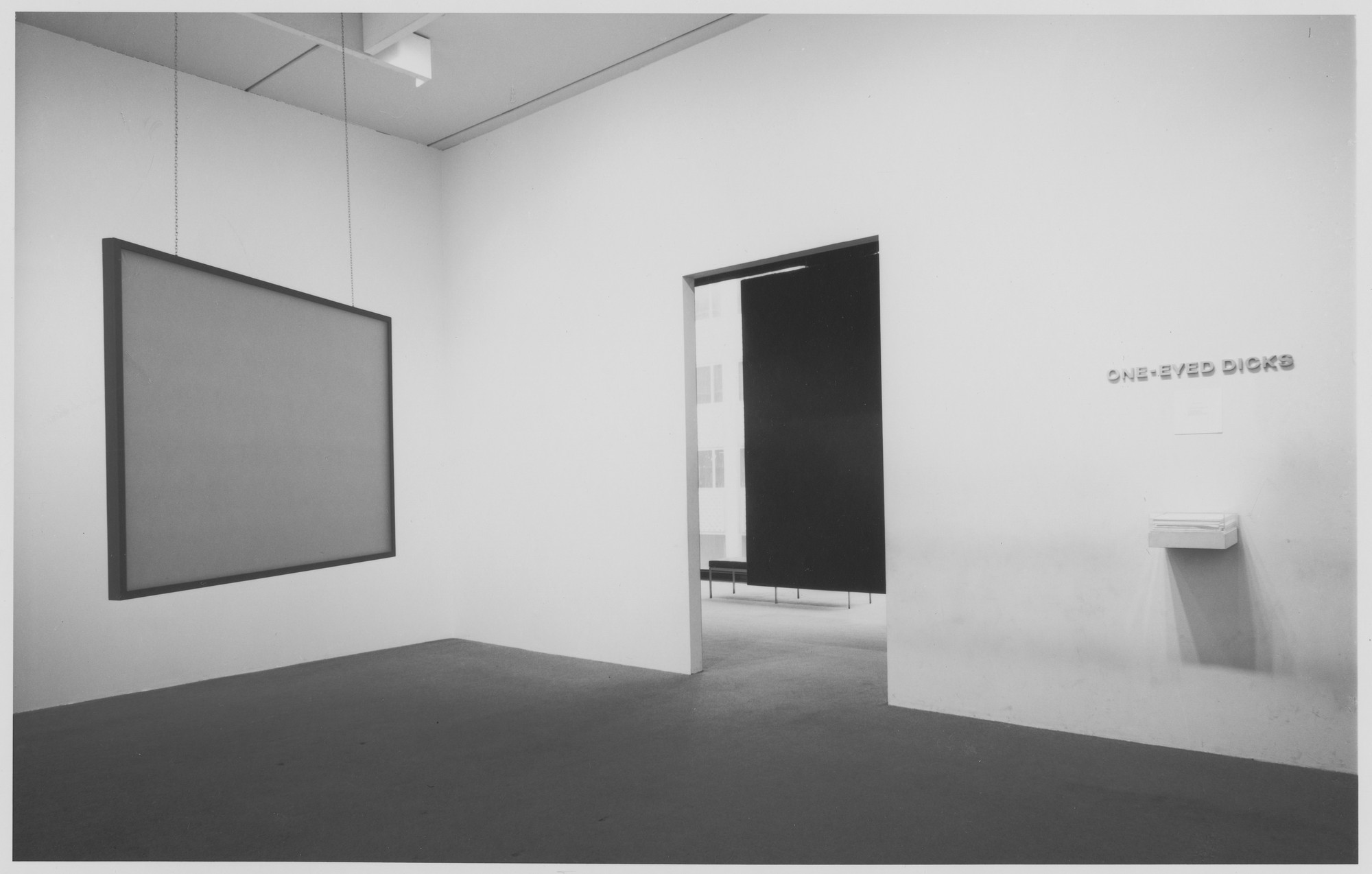 "Installation view of the exhibition, ""One-Eyed Dicks."" July 30, 1970–October 2, 1970. Photographic Archive. The Museum of Modern Art Archives, New York. IN937.1. Photograph by James Mathews."