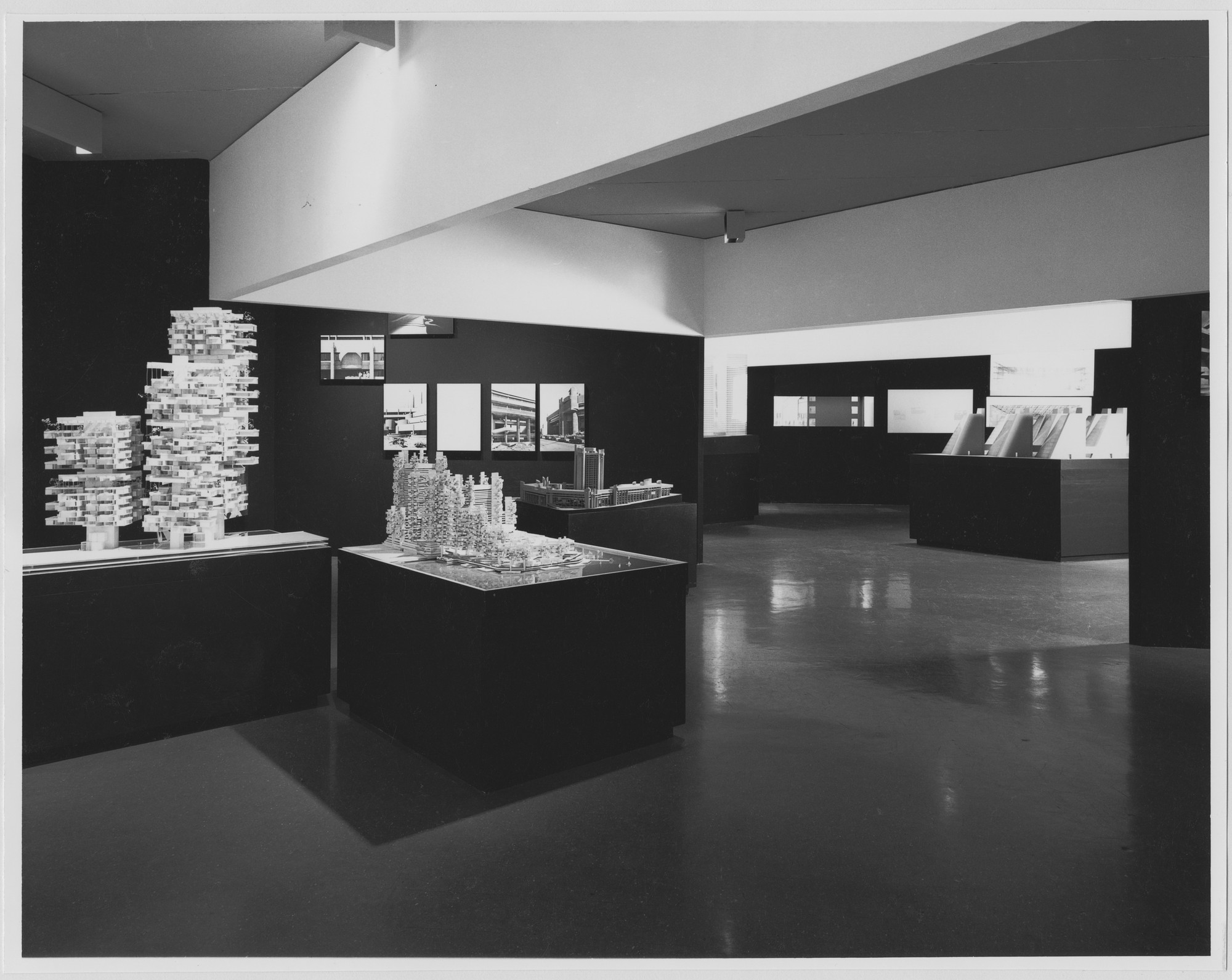 "Installation view of the exhibition, ""Works in Progress:   Architecture by Johnson, Roche, Rudolph."" October 2, 1970–January 3, 1971. Photographic Archive. The Museum of Modern Art Archives, New York. IN940.1. Photograph by Alexandre Georges."