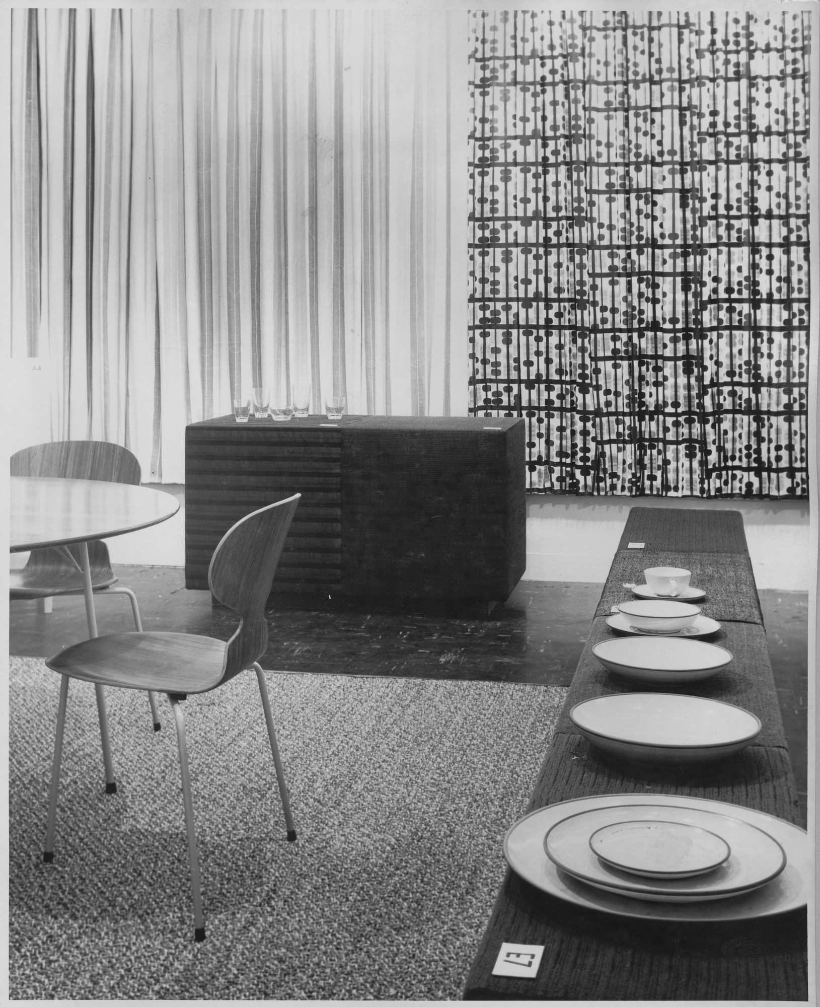 "Installation view of the exhibition, ""Good Design:  5th Anniversary."" February 8, 1955–March 20, 1955. Photographic Archive. The Museum of Modern Art Archives, New York. IN570.1"