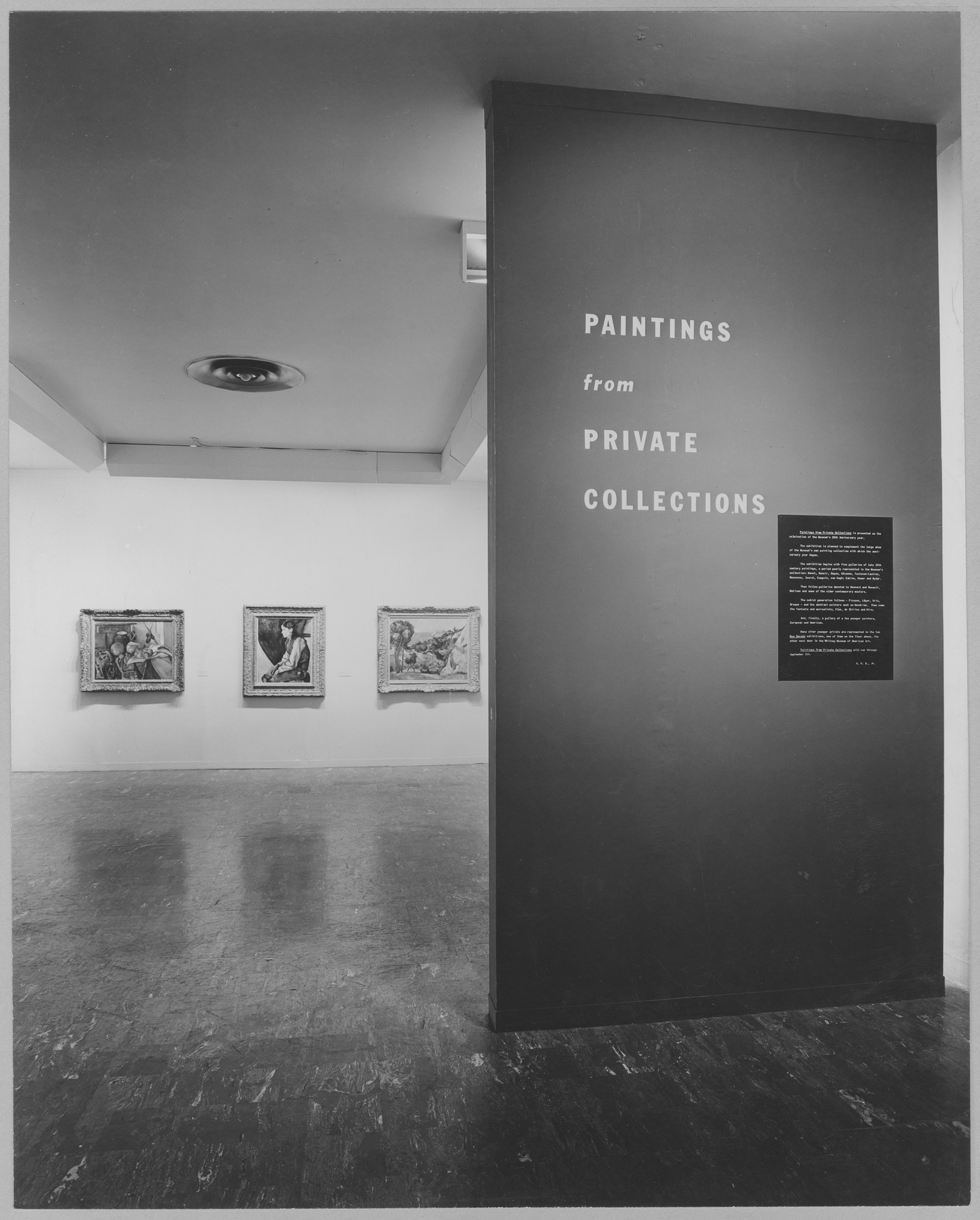 "Installation view of the exhibition, ""Paintings from Private Collections."" May 31, 1955–September 7, 1955. Photographic Archive. The Museum of Modern Art Archives, New York. IN580.1. Photograph by Soichi Sunami."