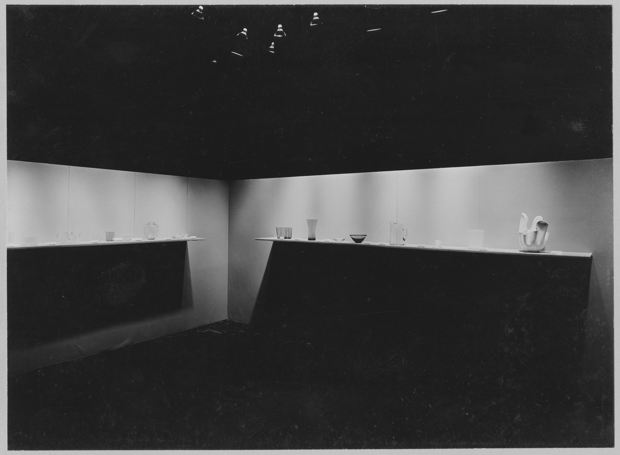 "Installation view of the exhibition, ""Glass from the Museum of Modern Art Collection."" October 25, 1955–January 8, 1956. Photographic Archive. The Museum of Modern Art Archives, New York. IN588.1. Photograph by Soichi Sunami."