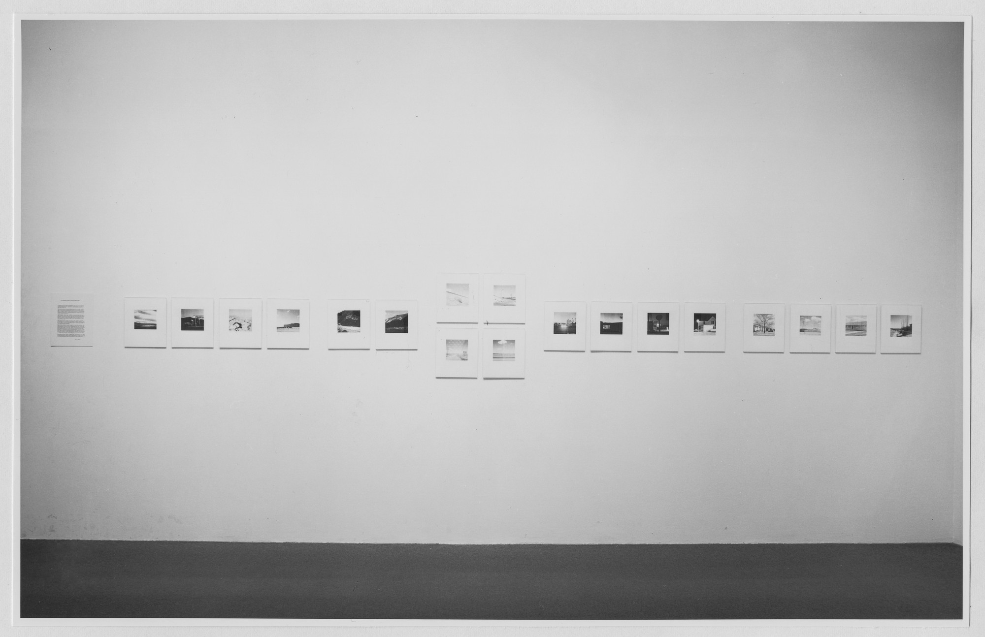 "Installation view of the exhibition, ""Photographs:  Robert Adams and Emmitt Gowin."" December 16, 1971–February 29, 1972. Photographic Archive. The Museum of Modern Art Archives, New York. IN987.1. Photograph by James Mathews."