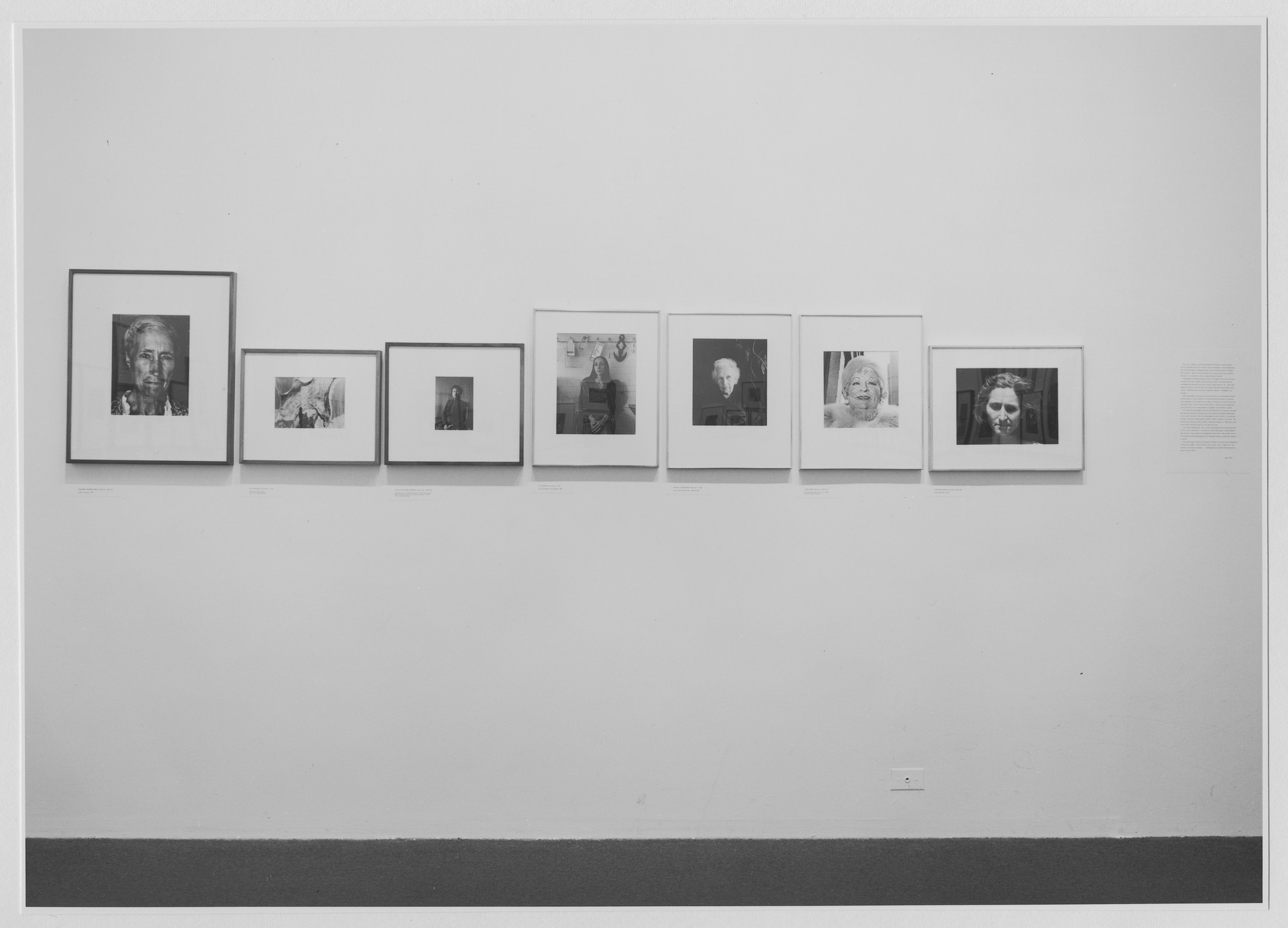 "Installation view of the exhibition, ""Photographs of Women."" September 7, 1931–November 30, 1971. Photographic Archive. The Museum of Modern Art Archives, New York. IN976.1. Photograph by James Mathews."