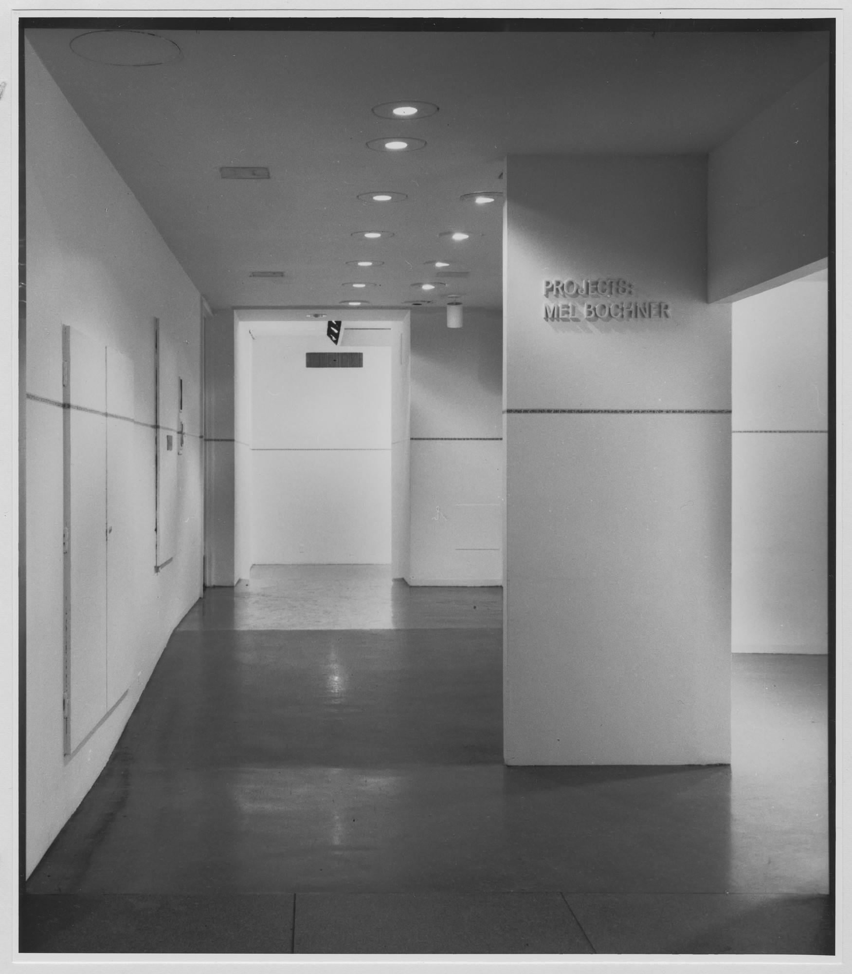 "Installation view of the exhibition, ""Projects: Mel Bochner."" August 9, 1971–September 20, 1971. Photographic Archive. The Museum of Modern Art Archives, New York. IN977.1. Photograph by Eric Pollitzer."