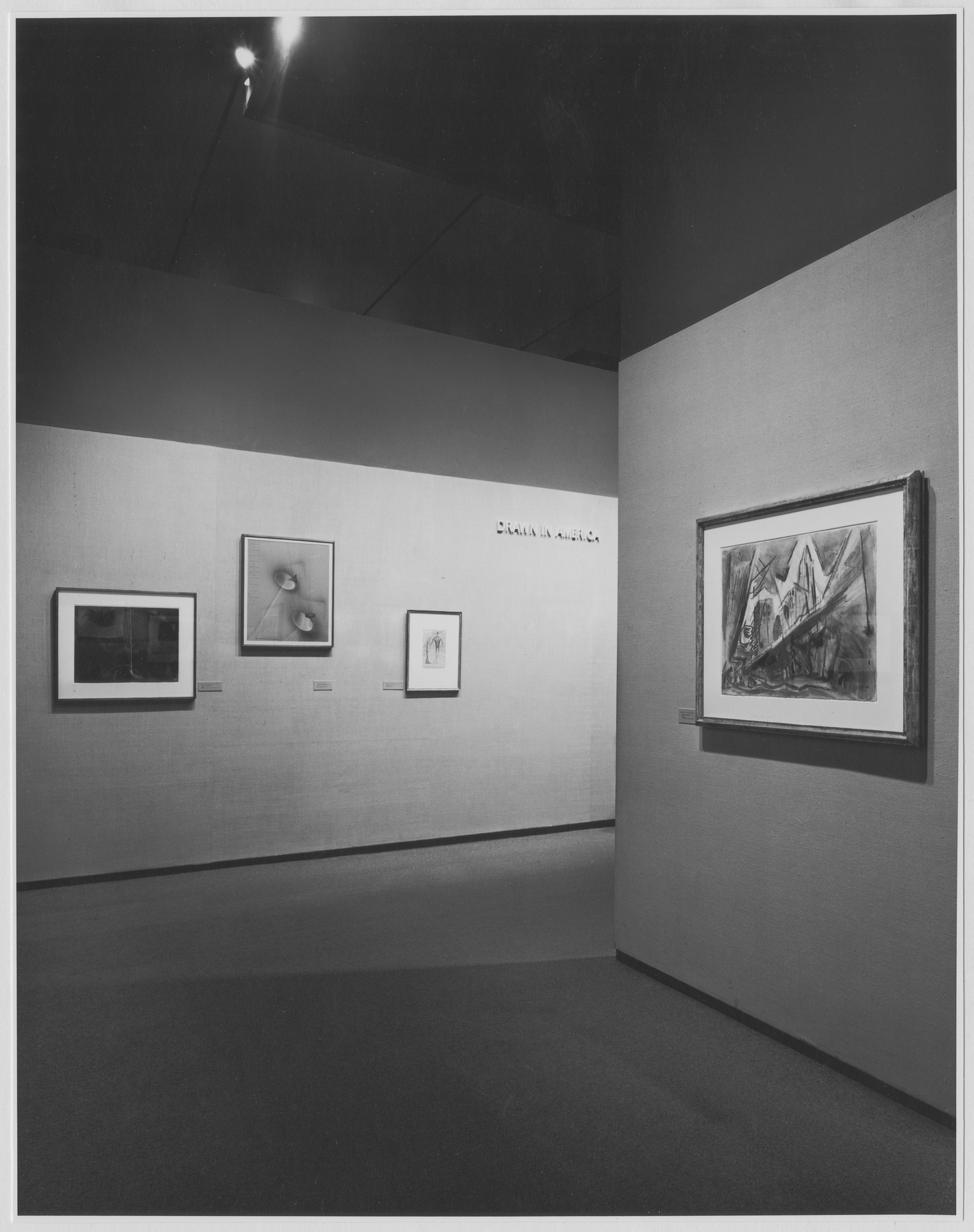 "Installation view of the exhibition, ""Drawn in America."" March 1, 1972–May 29, 1972. Photographic Archive. The Museum of Modern Art Archives, New York. IN998.1. Photograph by James Mathews."