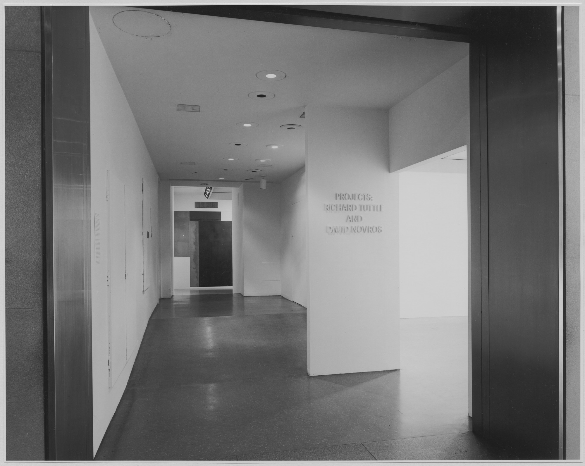 "Installation view of the exhibition, ""Projects: Richard Tuttle & David Novros."" June 12, 1972–July 17, 1972. Photographic Archive. The Museum of Modern Art Archives, New York. IN1006.1. Photograph by James Mathews."