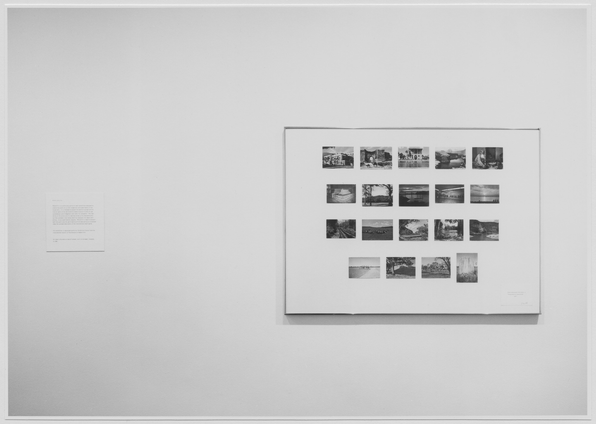 "Installation view of the exhibition, ""Projects: David Tremlett."" March 6, 1973–April 8, 1973. Photographic Archive. The Museum of Modern Art Archives, New York. IN1025.1. Photograph by Katherine Keller."