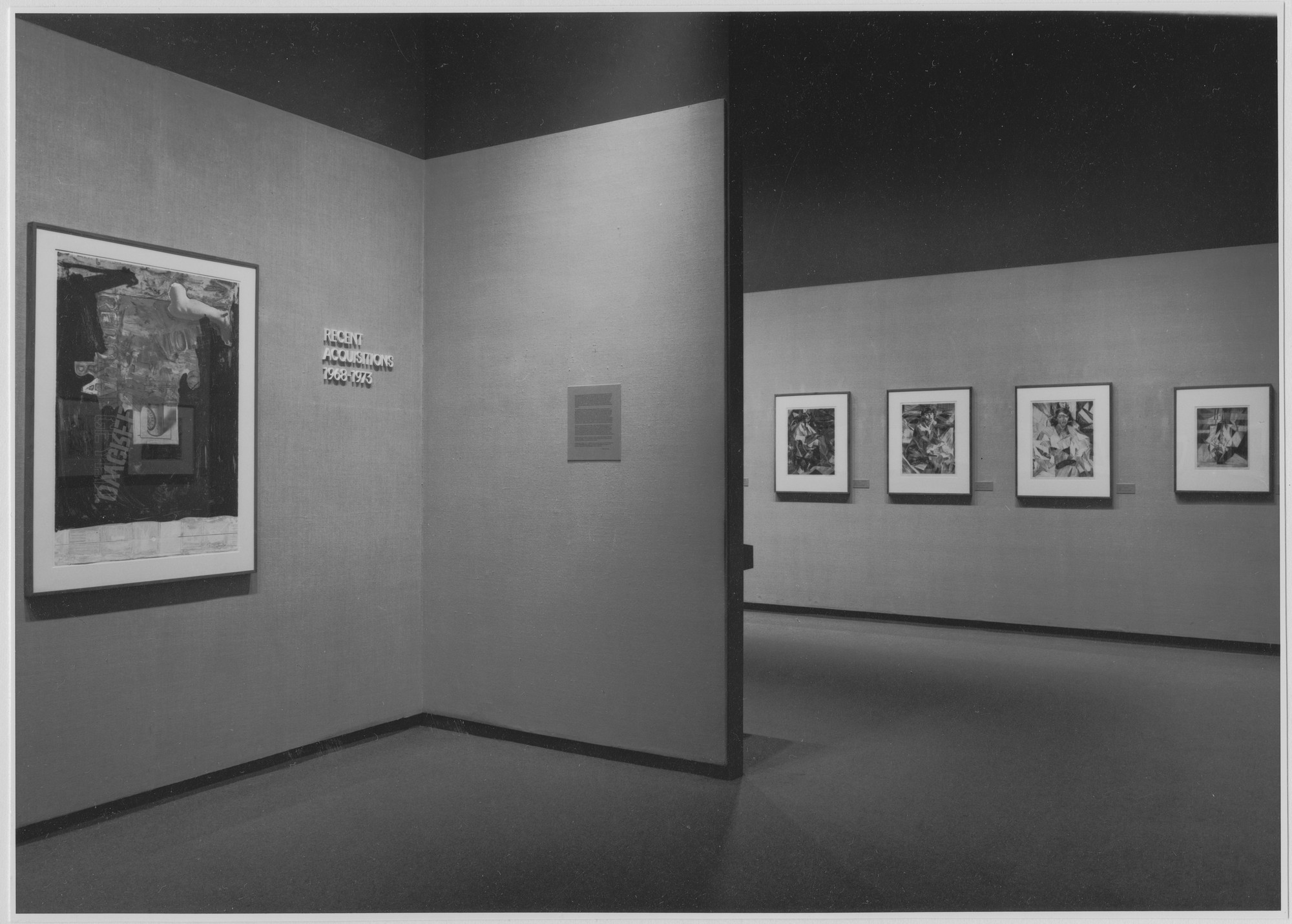 "Installation view of the exhibition, ""Recent Acquisitions 1968-1973."" June 15, 1973–September 25, 1973. Photographic Archive. The Museum of Modern Art Archives, New York. IN1038a.1. Photograph by Katherine Keller."
