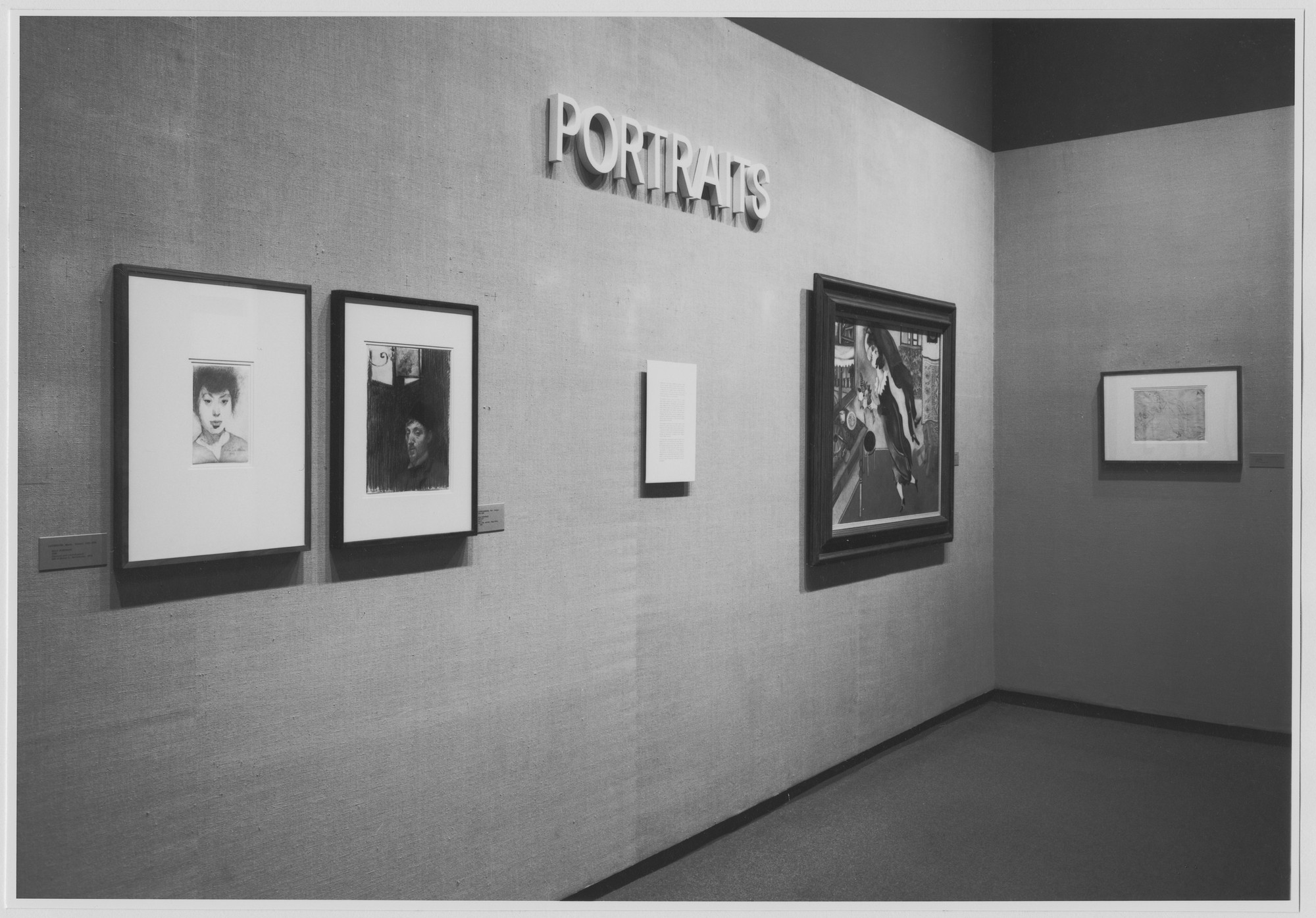 "Installation view of the exhibition, ""Portraits."" December 27, 1973–February 24, 1974. Photographic Archive. The Museum of Modern Art Archives, New York. IN1049.1. Photograph by Katherine Keller."