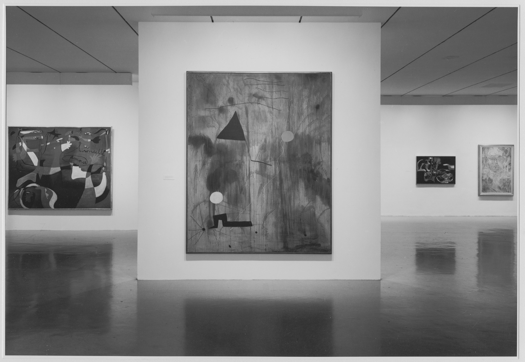 "Installation view of the exhibition, ""Miró in the Collection of the Museum of Modern Art."" October 9, 1973–January 27, 1974. Photographic Archive. The Museum of Modern Art Archives, New York. IN1044.1. Photograph by Robert Mates, Paul Katz."