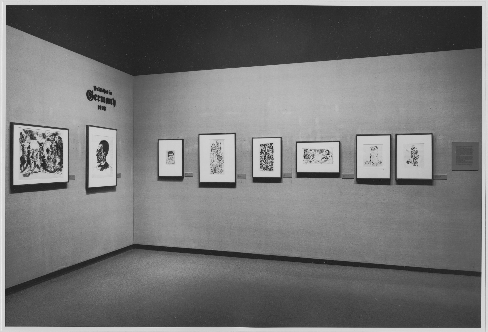 "Installation view of the exhibition, ""Published in Germany, 1923."" October 12, 1973–February 2, 1974. Photographic Archive. The Museum of Modern Art Archives, New York. IN1045.1. Photograph by Katherine Keller."
